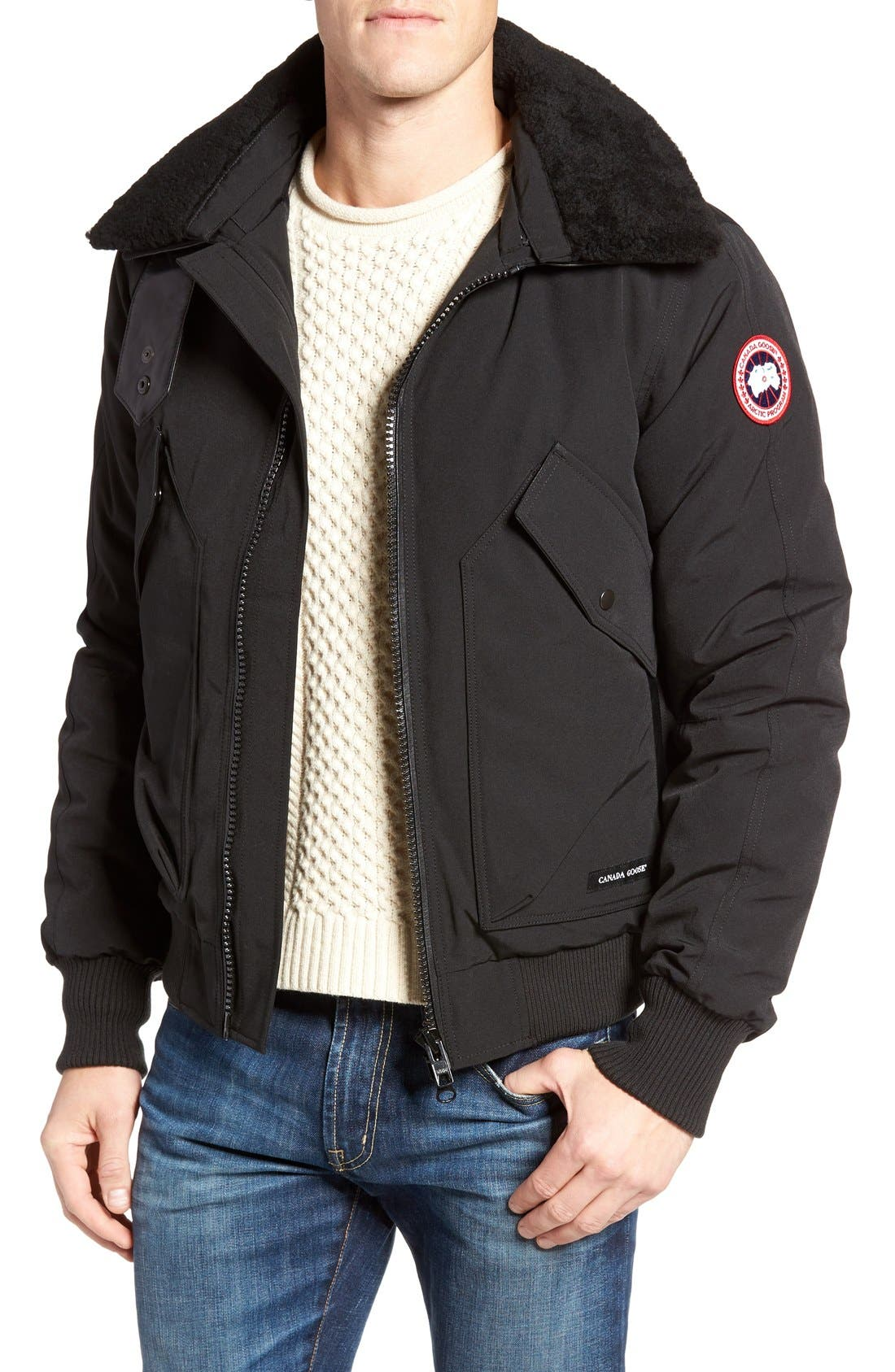 Bromley Down Bomber Jacket with Genuine Shearling Collar,                             Main thumbnail 1, color,                             Black