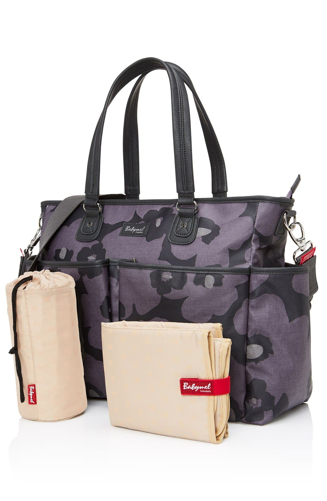 Bella Diaper Bag,                             Alternate thumbnail 3, color,                             Floral Grey