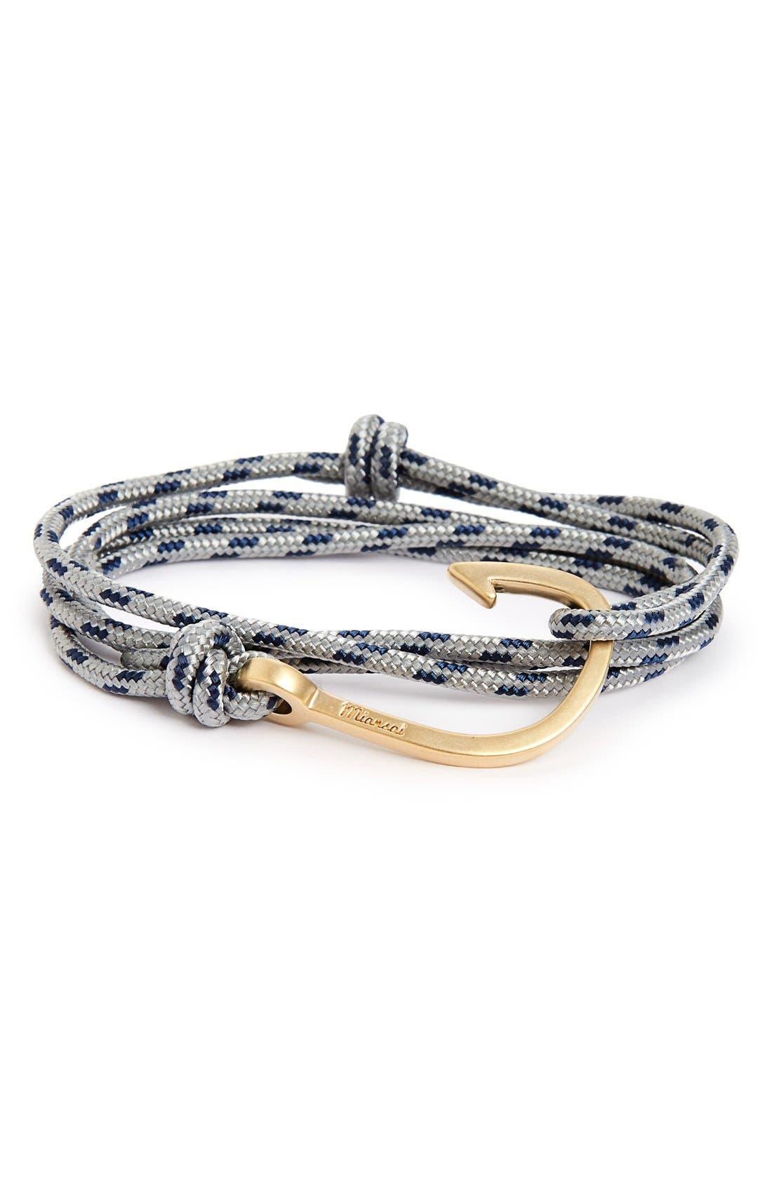Hook Rope Wrap Bracelet,                             Main thumbnail 1, color,                             Steel