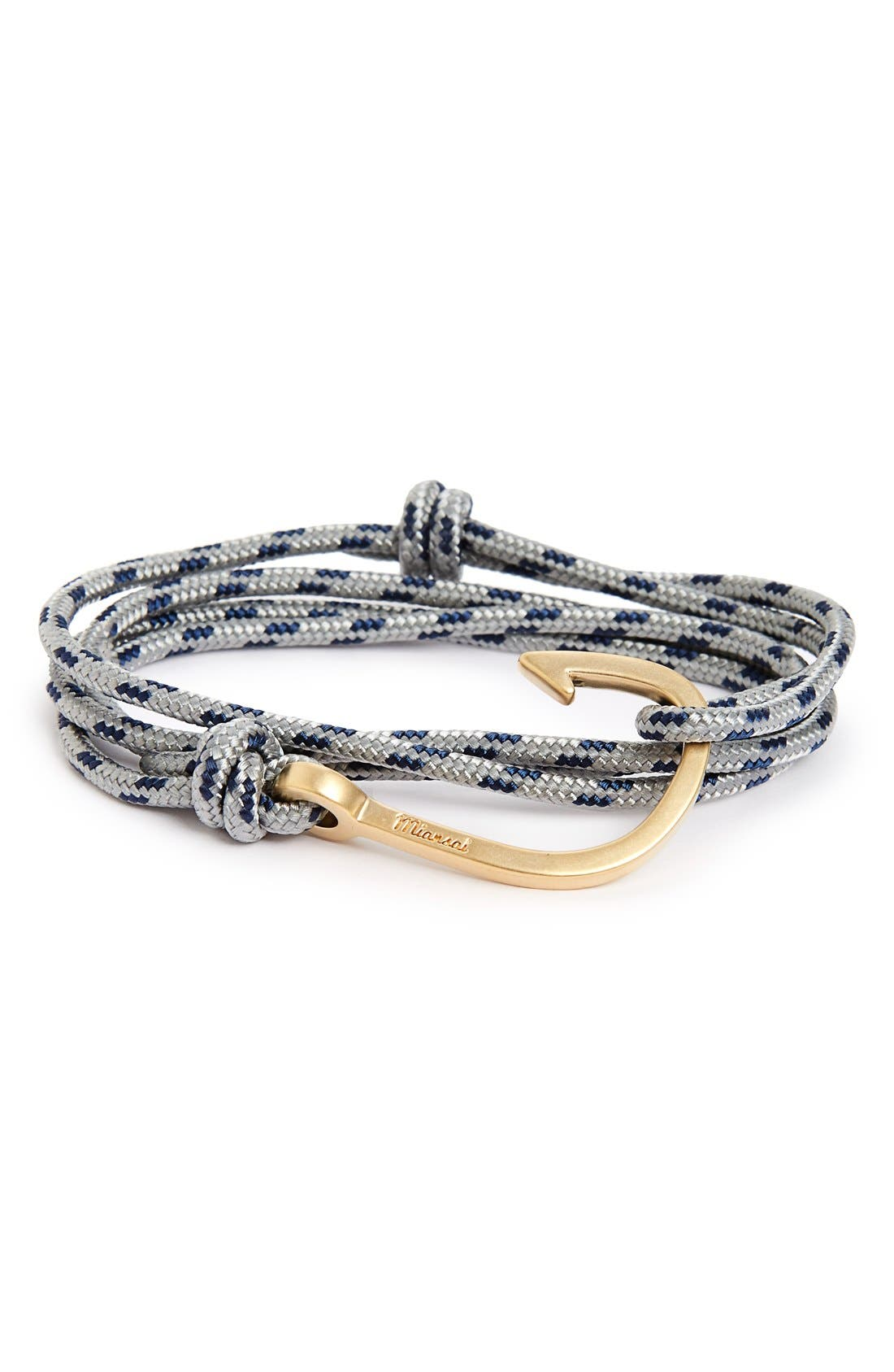 Hook Rope Wrap Bracelet,                         Main,                         color, Steel