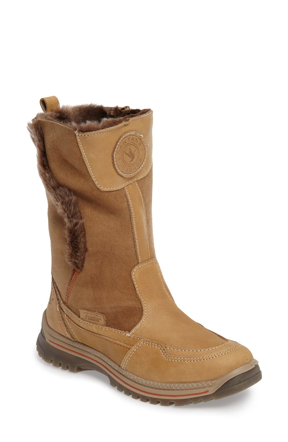 Seraphine Genuine Shearling Waterproof Winter Boot,                             Main thumbnail 1, color,                             Camel Leather
