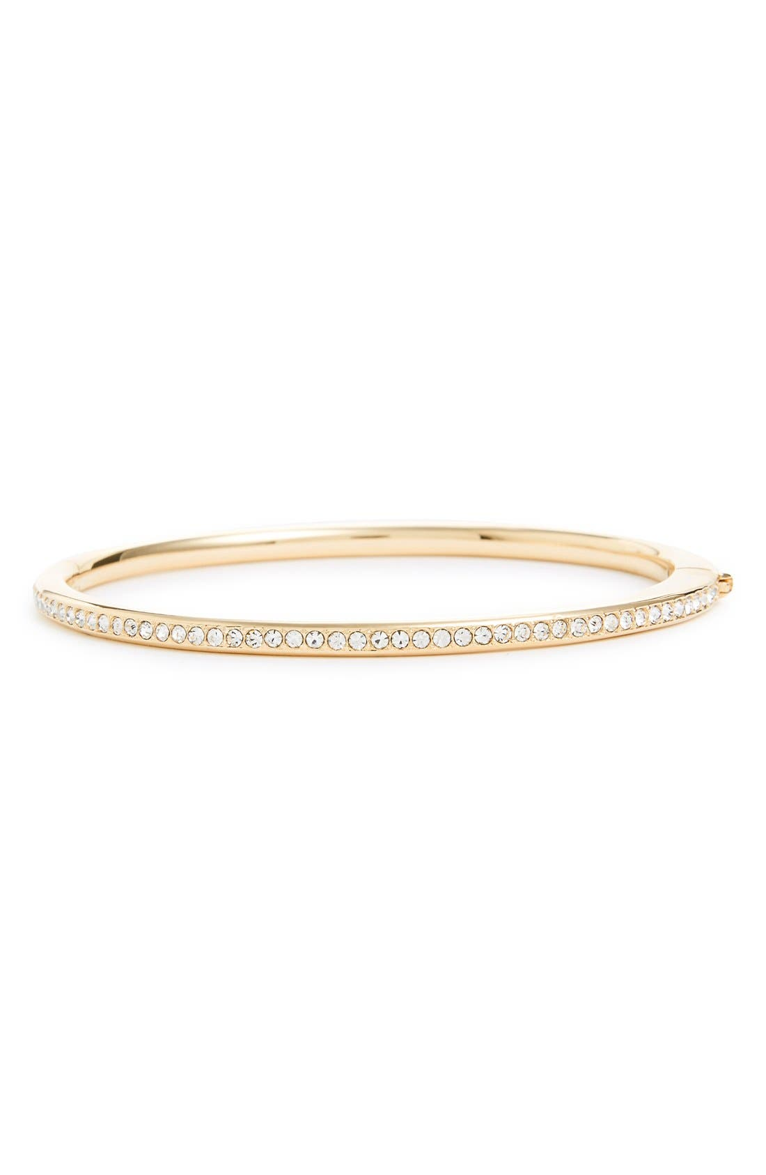 Channel Set Crystal Hinged Bangle,                         Main,                         color, Gold/ Clear Crystal