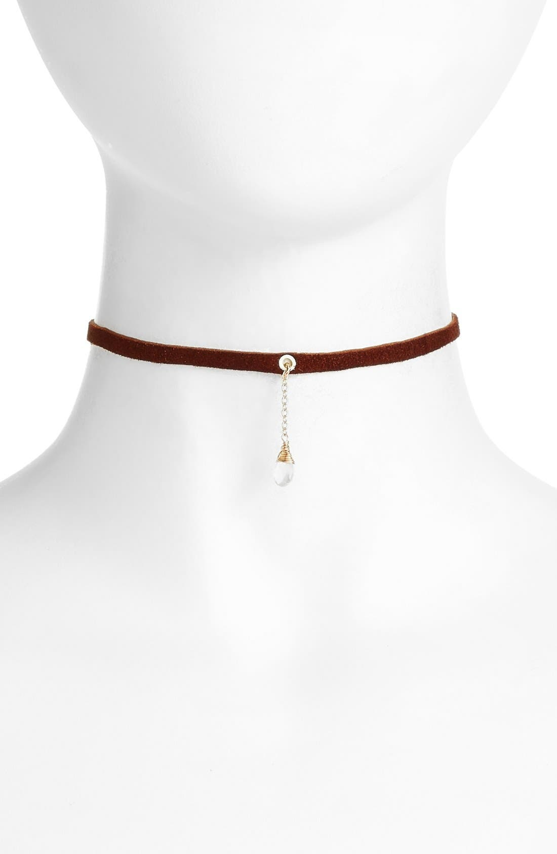 Leather & Stone Choker,                         Main,                         color, Brown