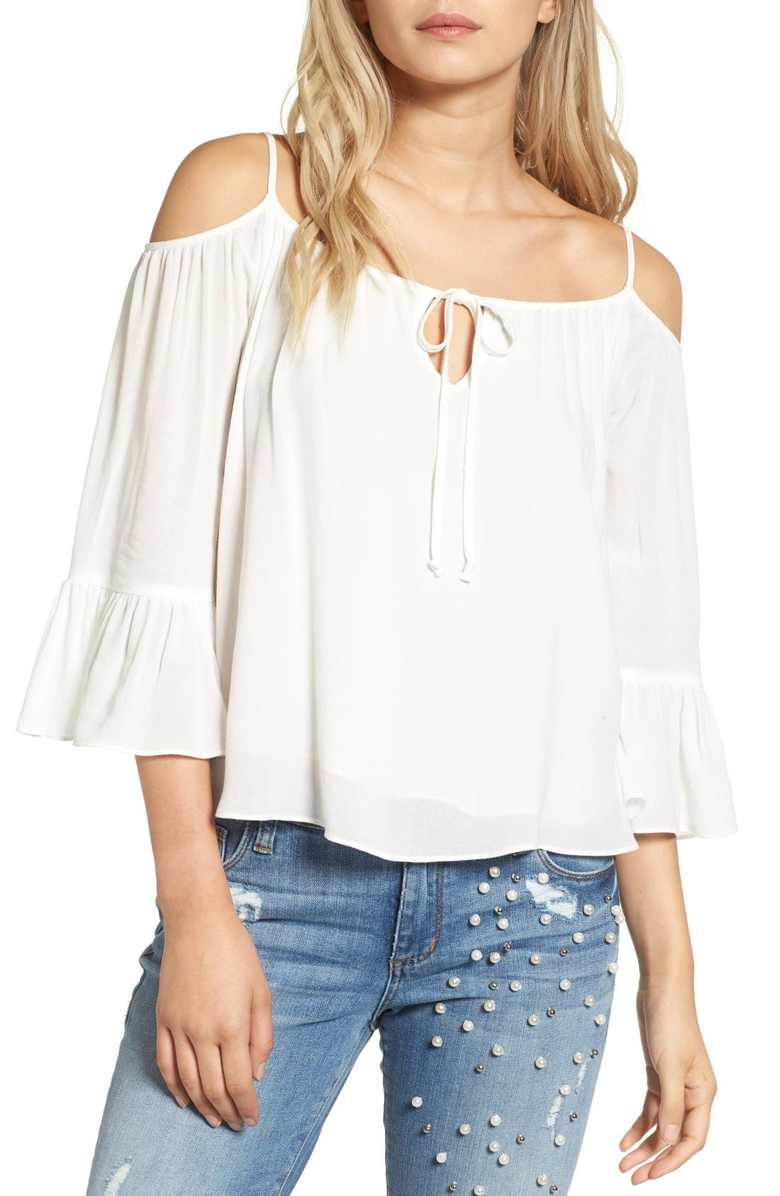 Alternate Image 1 Selected - Sun & Shadow Off the Shoulder Ruffle Top