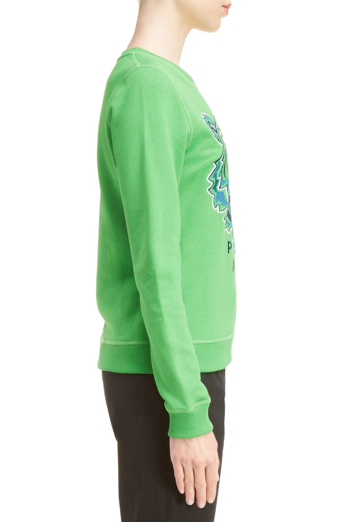 Embroidered Tiger Cotton Sweatshirt,                             Alternate thumbnail 3, color,                             Grass Green