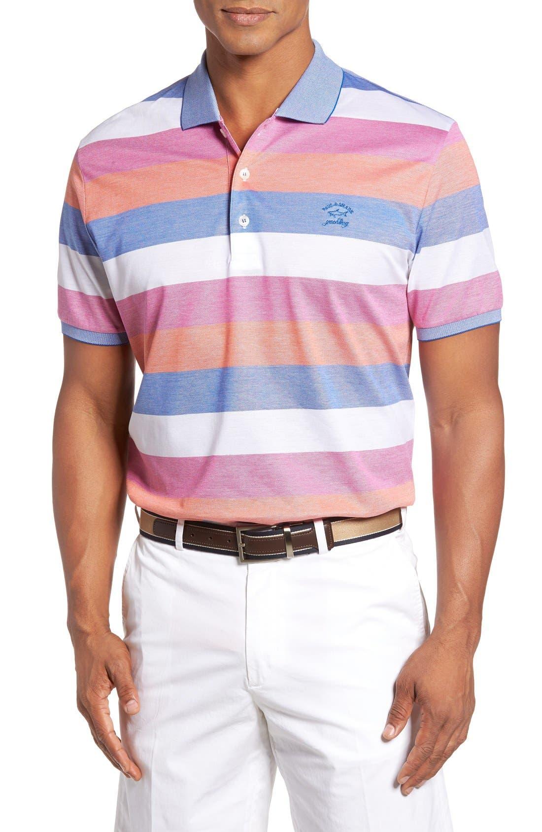 Paul&Shark Stripe Piqué Polo,                         Main,                         color, Pink