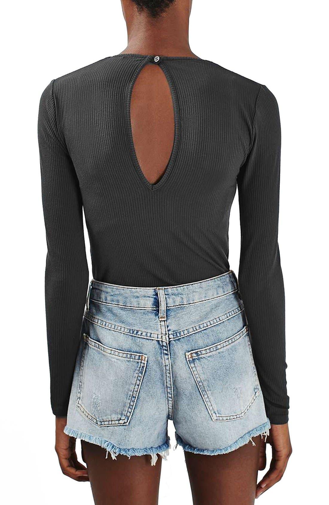 Alternate Image 3  - Topshop Keyhole Ribbed Bodysuit