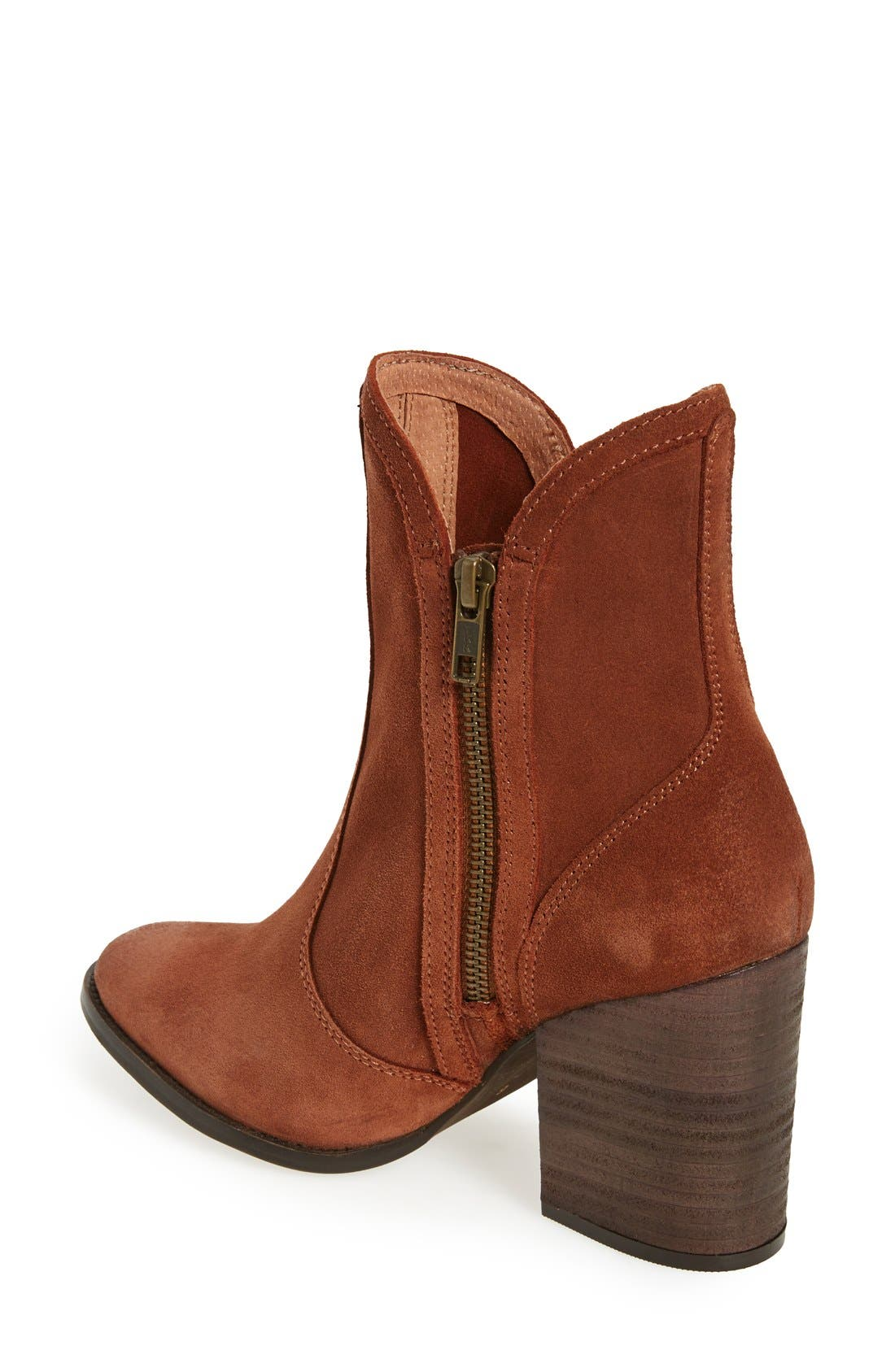 Lori Block Heel Western Bootie,                             Alternate thumbnail 2, color,                             Cognac Suede