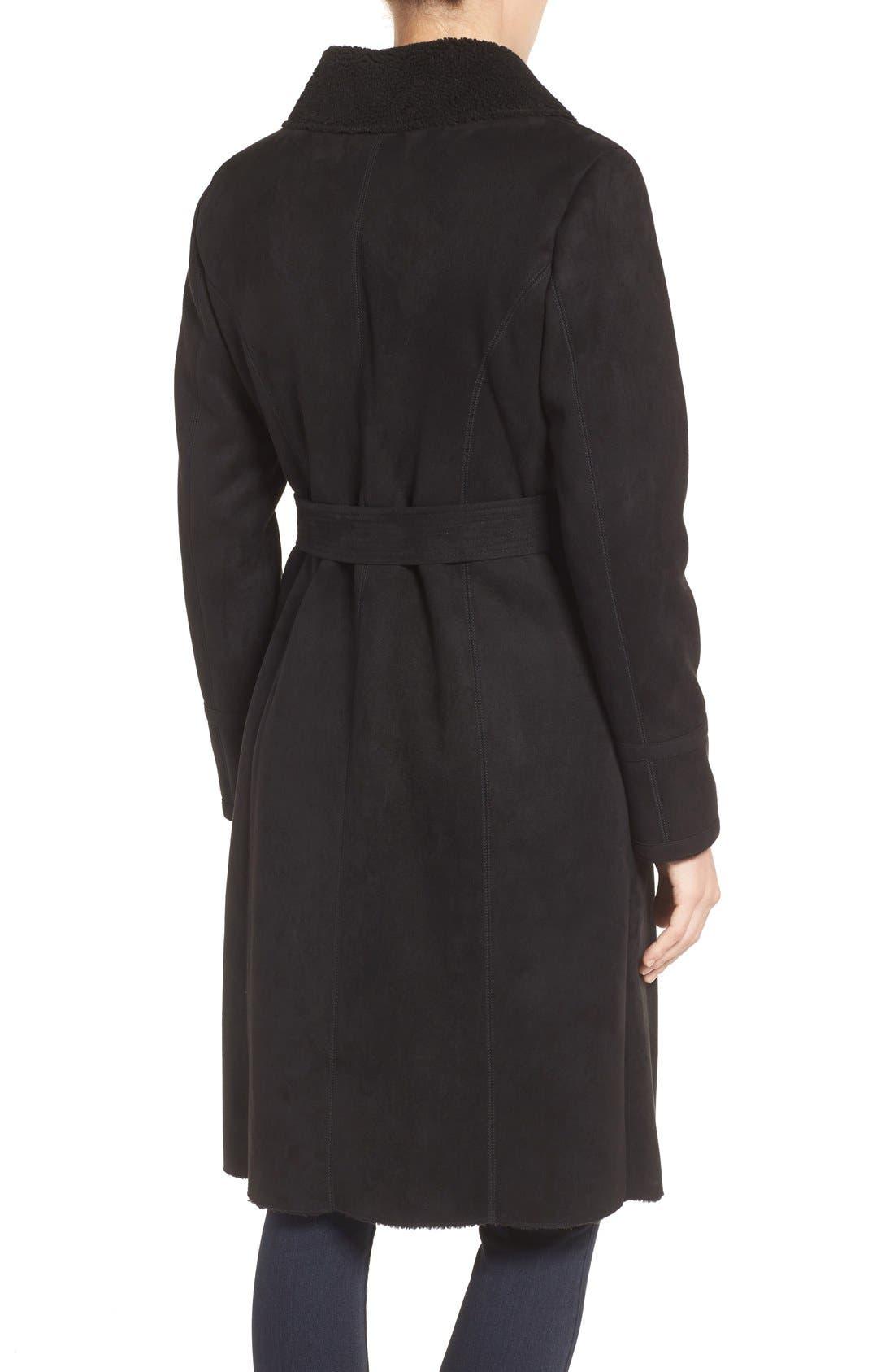 Faux Shearling Wrap Trench Coat,                             Alternate thumbnail 2, color,                             Black
