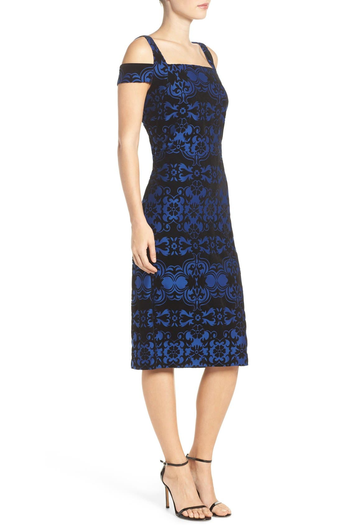 Flocked Midi Dress,                             Alternate thumbnail 3, color,                             Black/ Blue