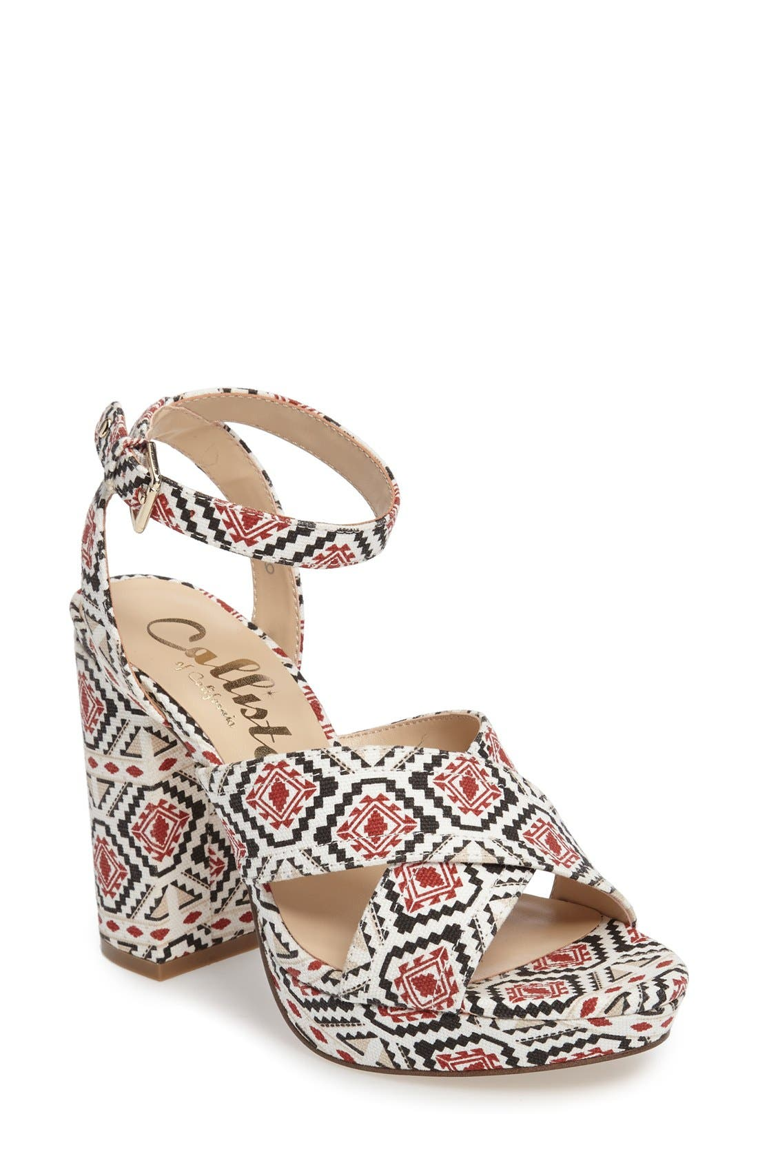 Windye Platform Ankle Strap Sandal,                             Main thumbnail 1, color,                             Tribal Fabric