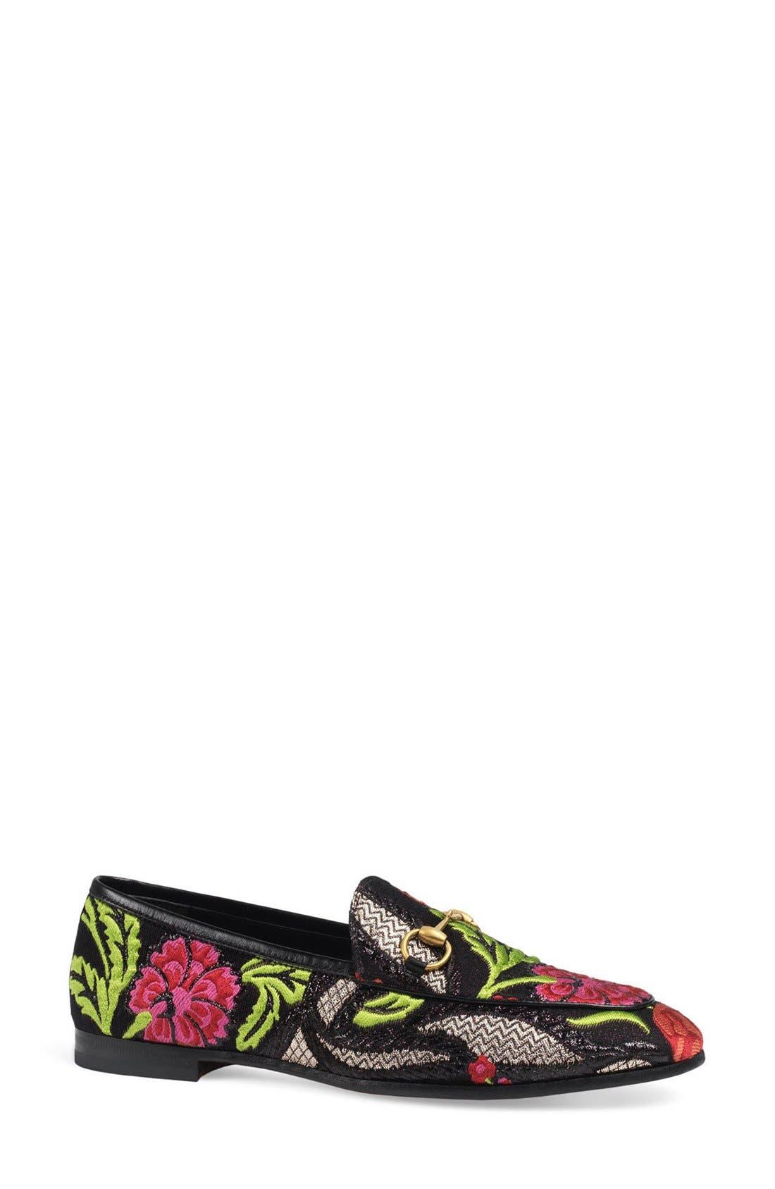 'Jordaan' Metallic Loafer,                         Main,                         color, Black Floral
