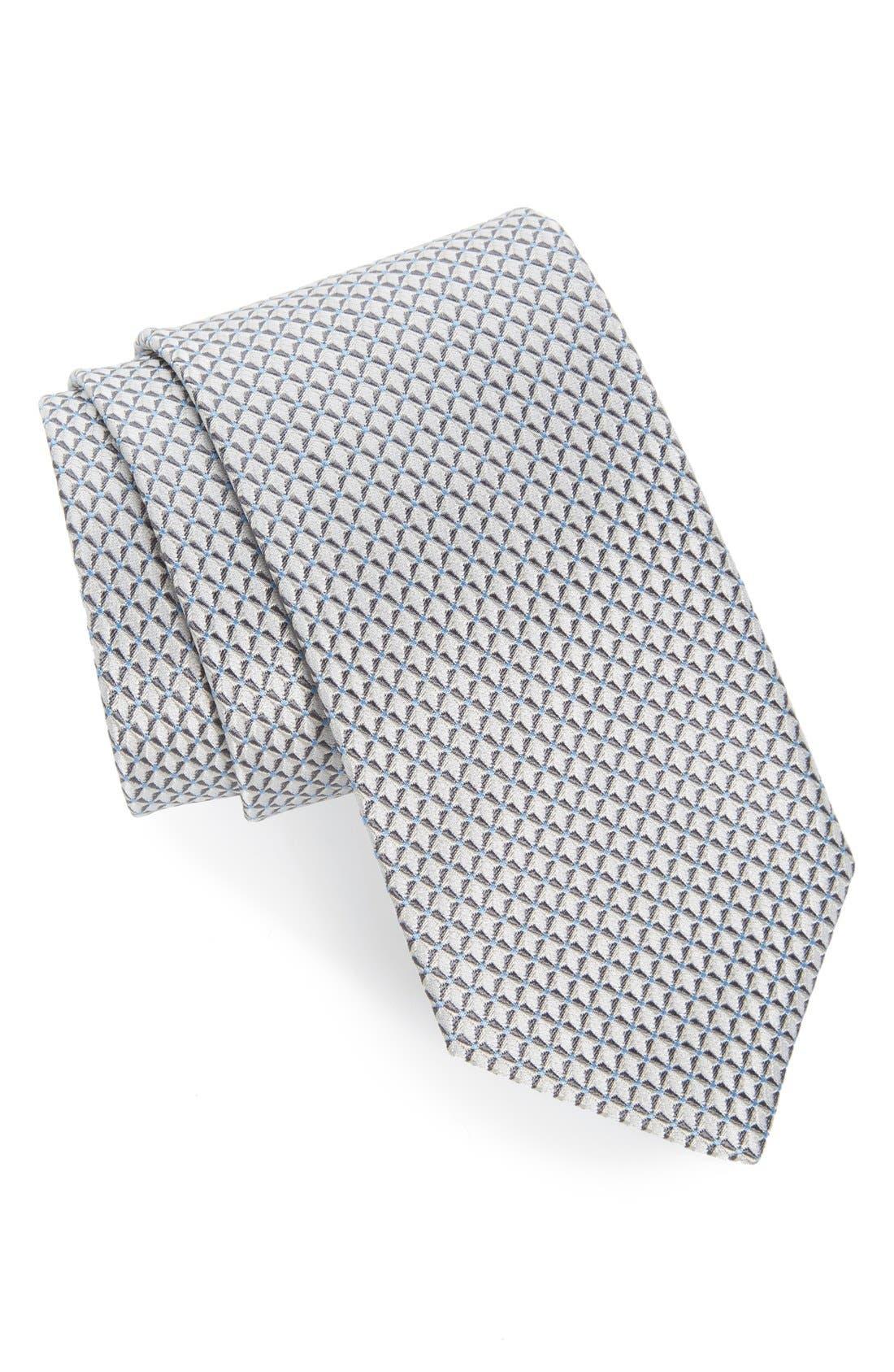 'Grayson Mini' Silk Tie,                             Main thumbnail 1, color,                             Silver