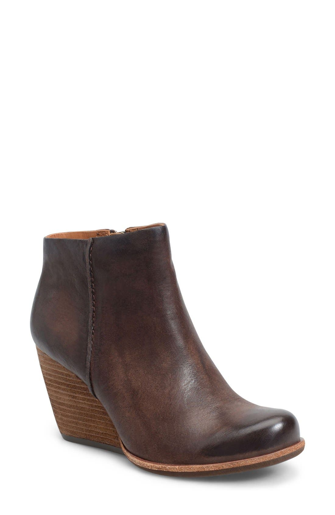 'Natalya' Burnished Leather Demi Wedge Boot,                             Main thumbnail 1, color,                             Dark Brown
