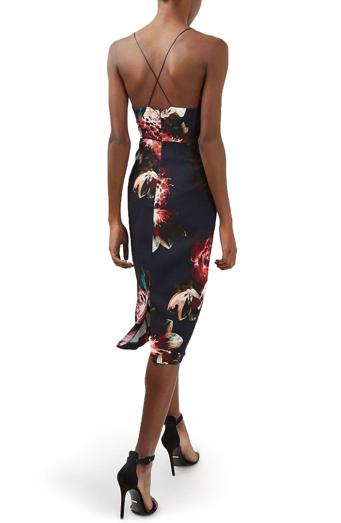 Alternate Image 2  - Topshop Floral Plunge Body-Con Midi Dress