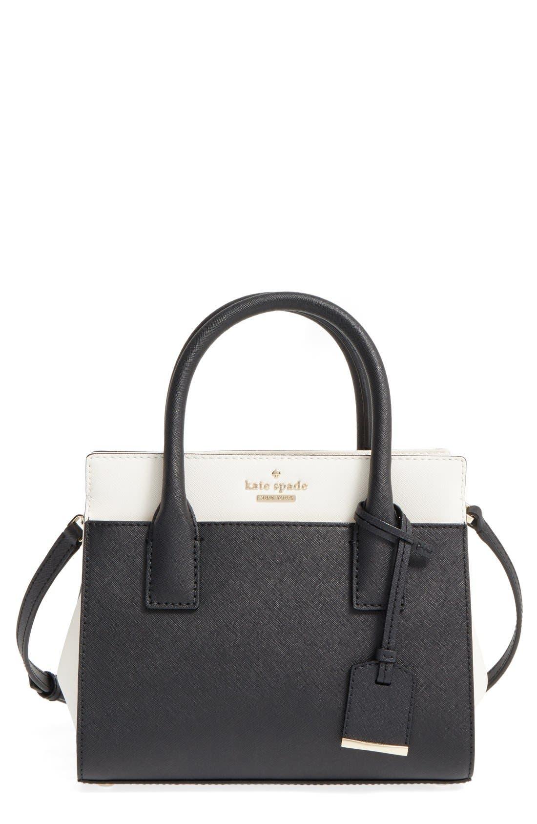 'cameron street - mini candace' leather satchel,                             Main thumbnail 1, color,                             Black/ Cement