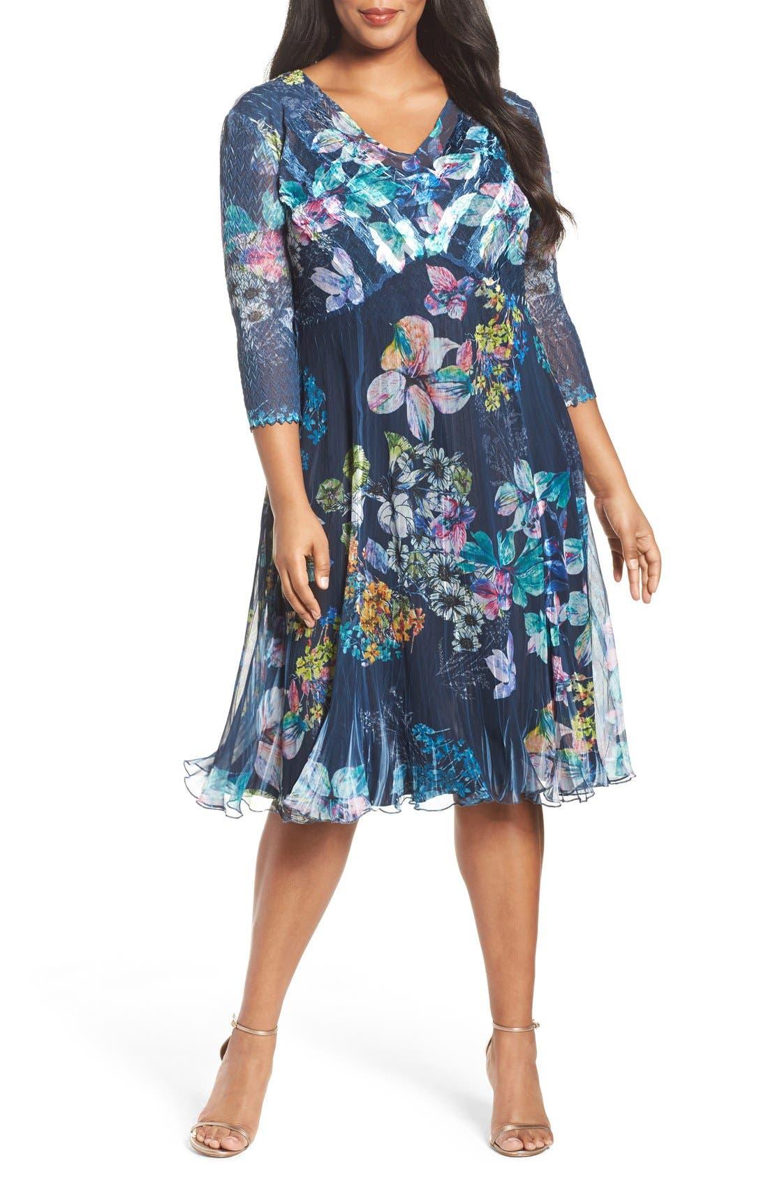 Chiffon A-Line Dress,                             Main thumbnail 1, color,                             Floral Gem