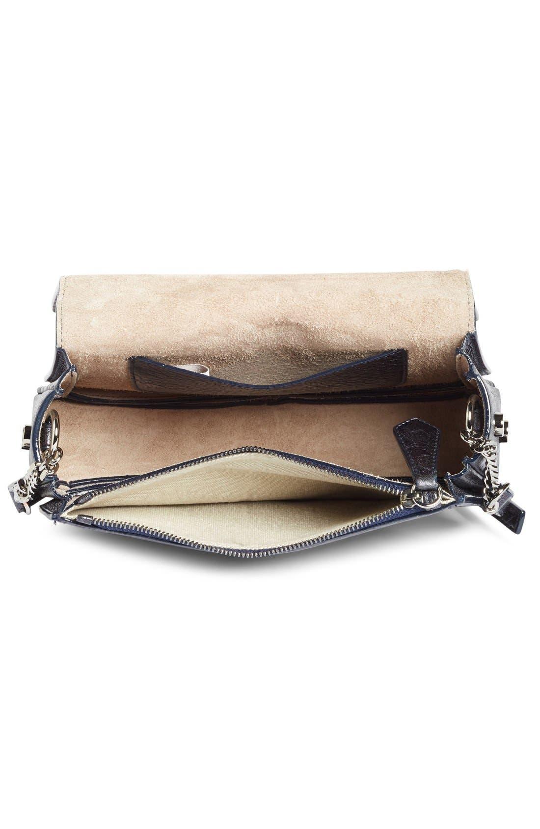 Arrow Metallic Grained Leather Shoulder Bag,                             Alternate thumbnail 2, color,                             Navy