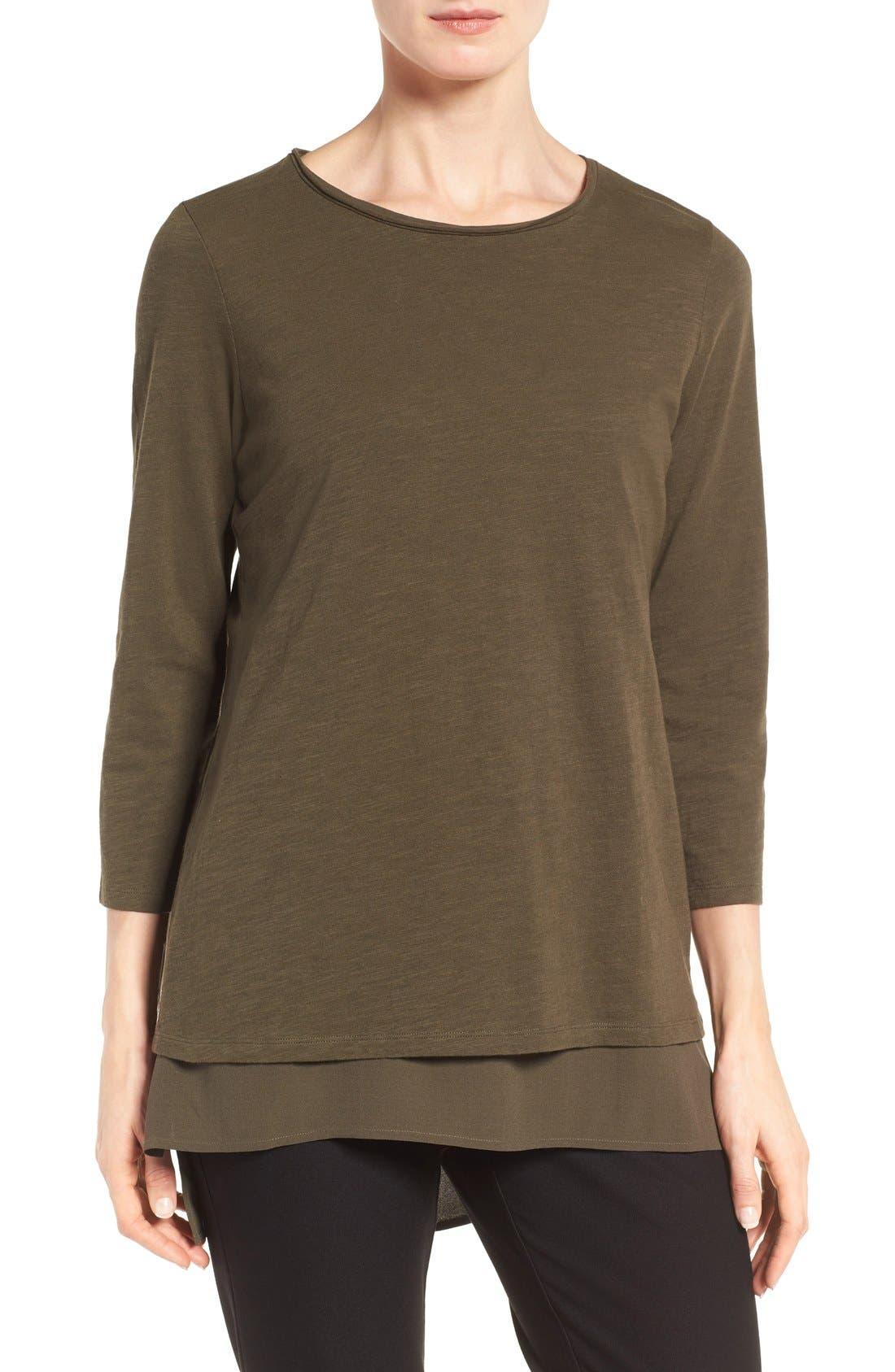 Alternate Image 1 Selected - Eileen Fisher Slubby Organic Cotton Jersey Top