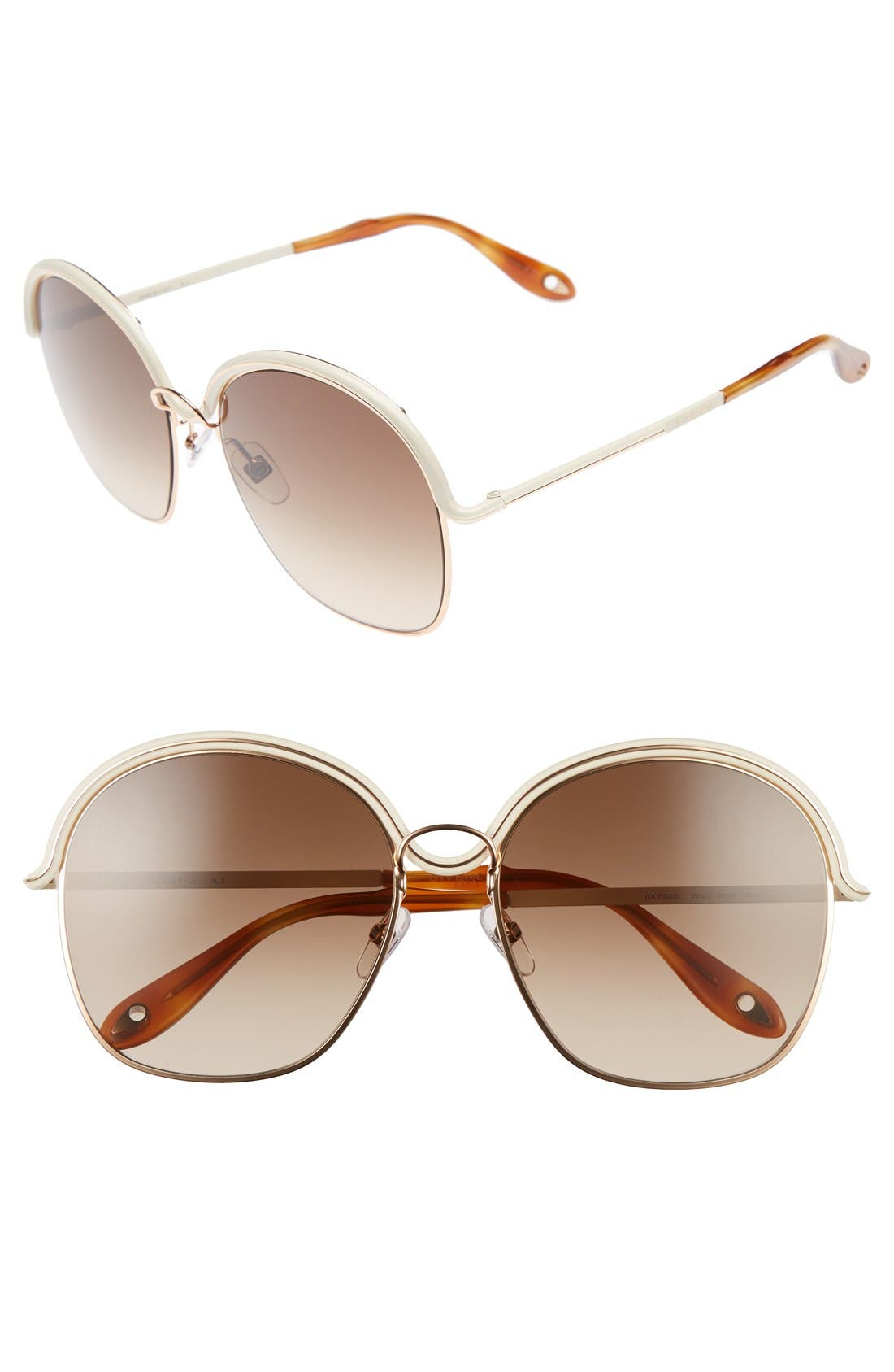7030/S 58mm Oversized Sunglasses,                         Main,                         color, Gold/ Beige