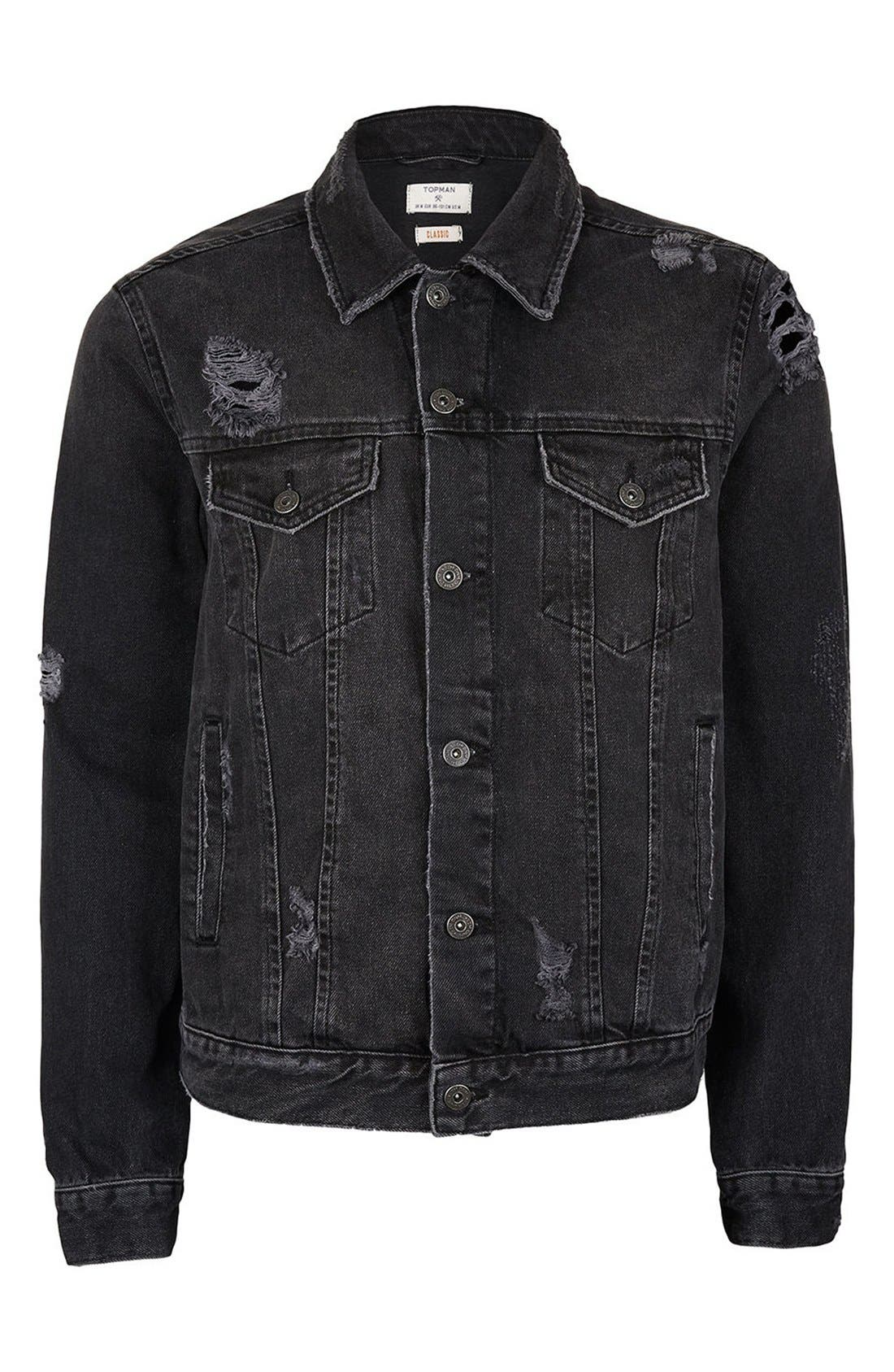 Alternate Image 5  - Topman Distressed Denim Jacket