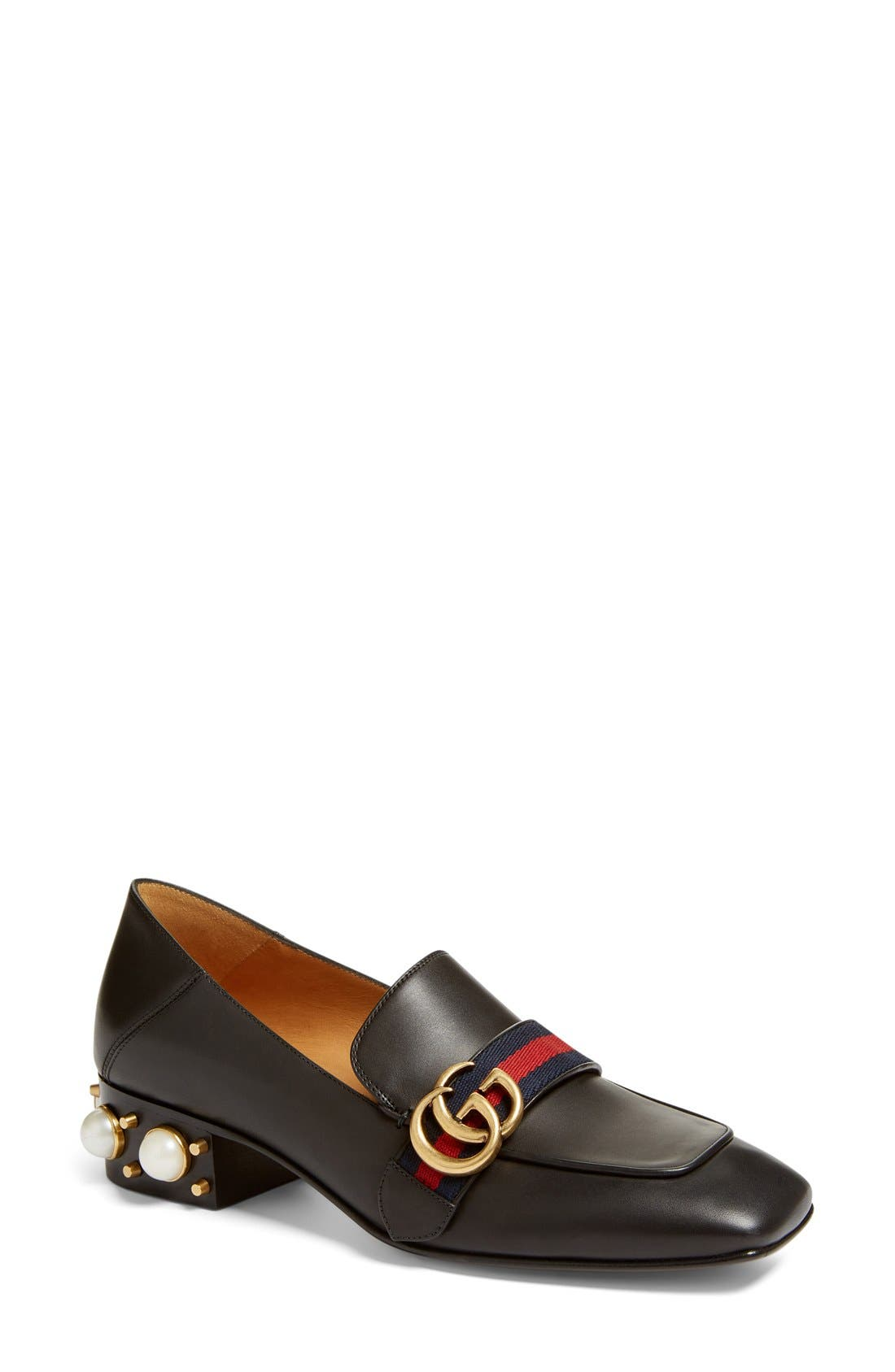 Peyton Embellished Heel Loafer,                         Main,                         color, Black Leather