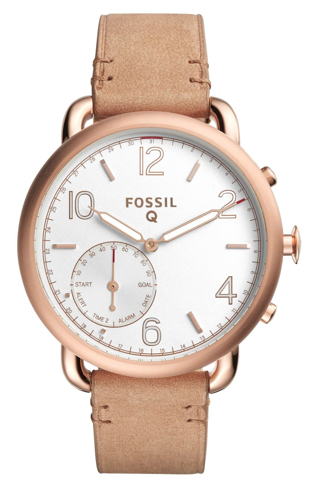 Tailor Leather Strap Smart Watch, 40mm,                         Main,                         color, Tan/ Rose Gold
