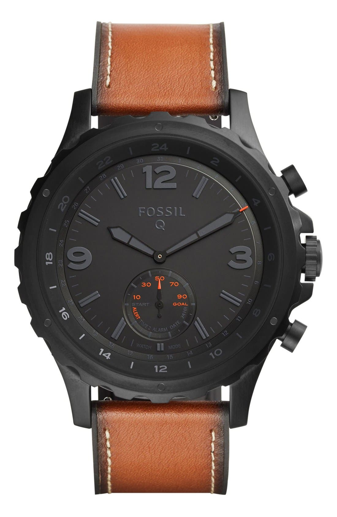Nate Leather Strap Hybrid Smart Watch, 50mm,                         Main,                         color, Brown/ Black