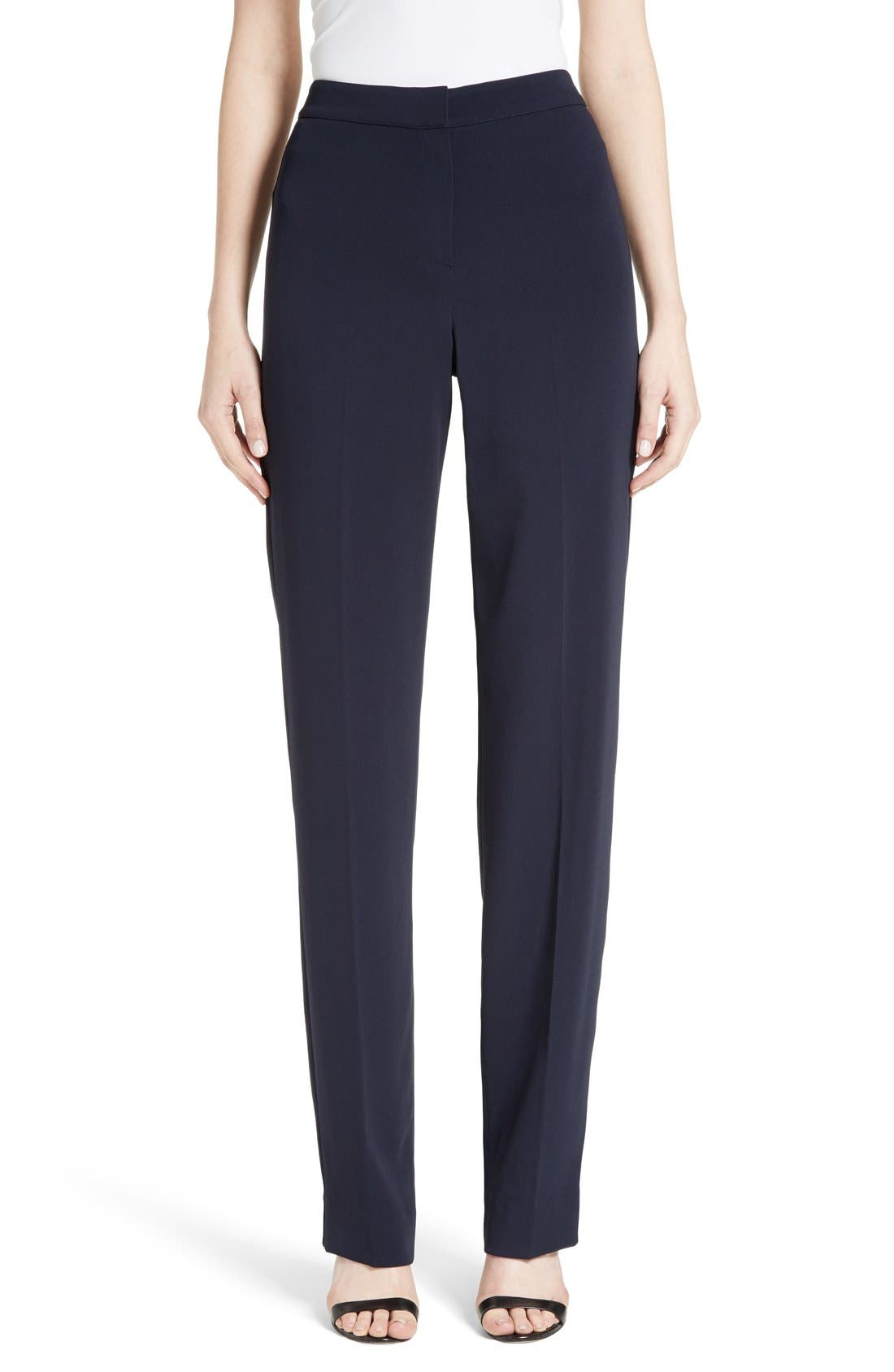 Diana Classic Cady Stretch Pants,                             Main thumbnail 1, color,                             Navy