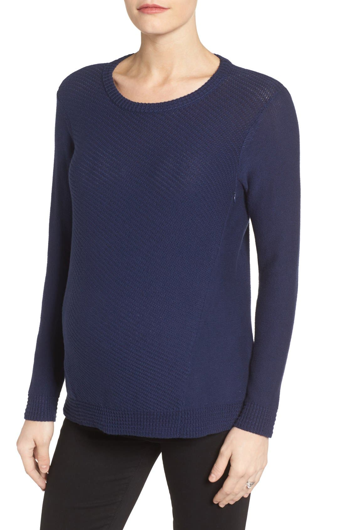 Wiley Maternity/Nursing Sweatshirt,                             Main thumbnail 1, color,                             Navy
