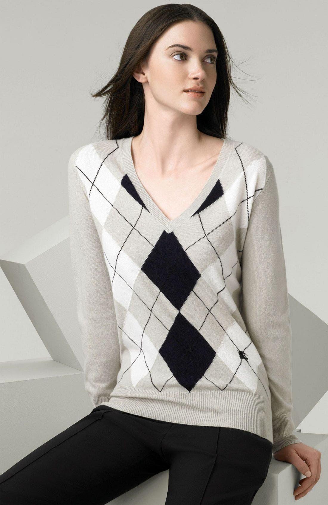 Alternate Image 1 Selected - Burberry Argyle Cashmere Sweater