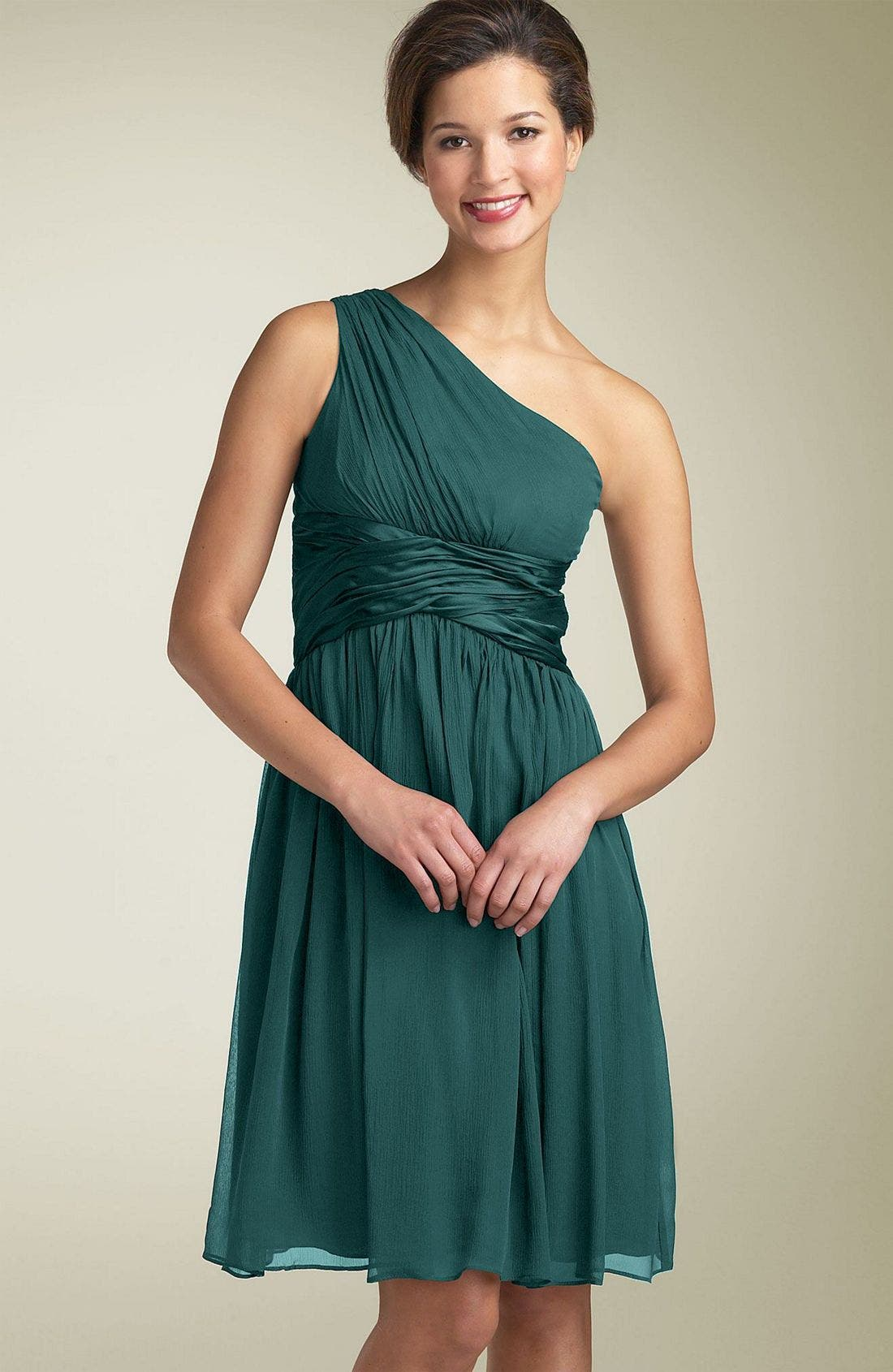 Alternate Image 1 Selected - Maggy London One Shoulder Silk Dress