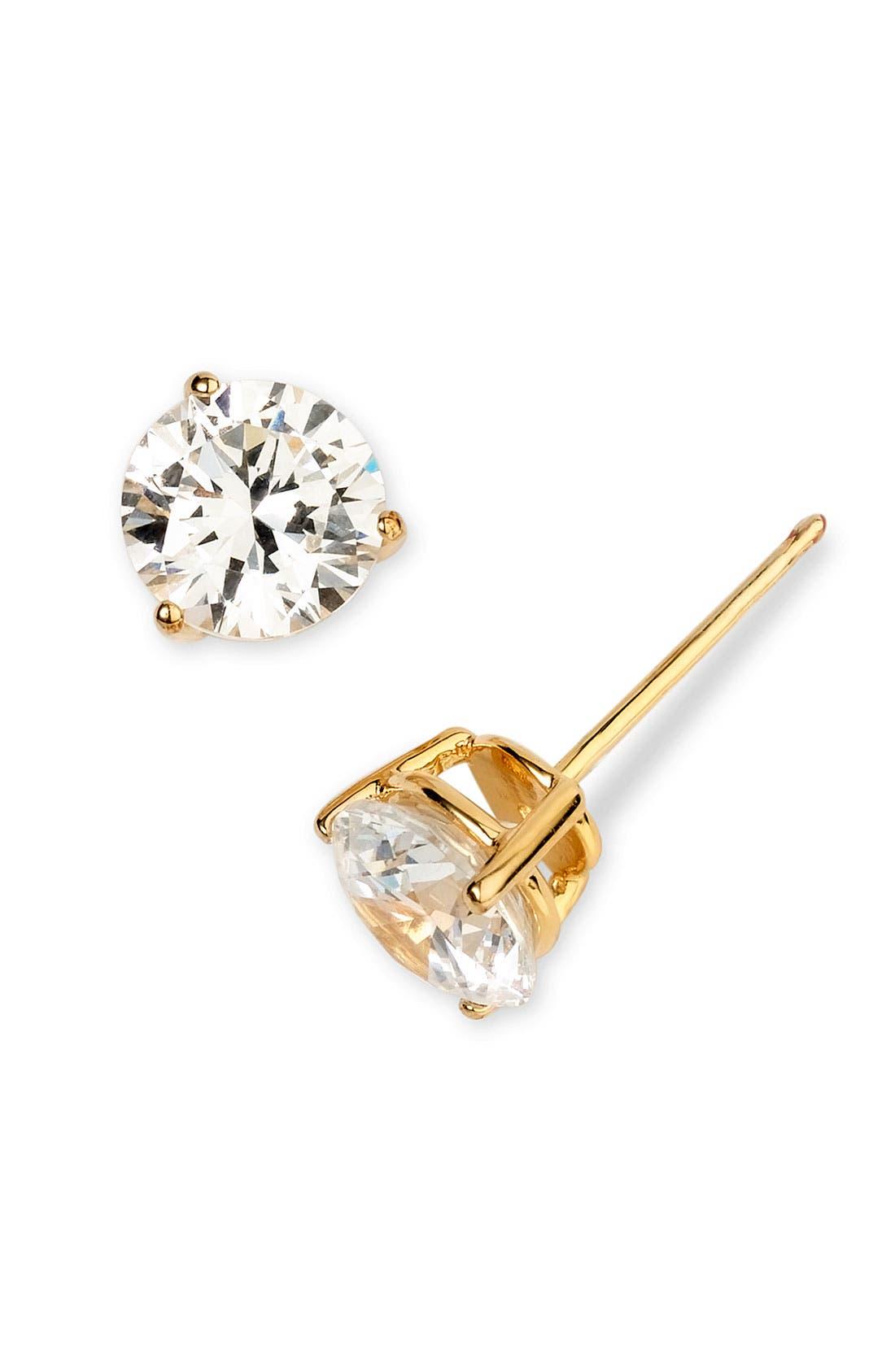 3ct tw Cubic Zirconia Earrings,                             Alternate thumbnail 2, color,                             Gold Vermeil