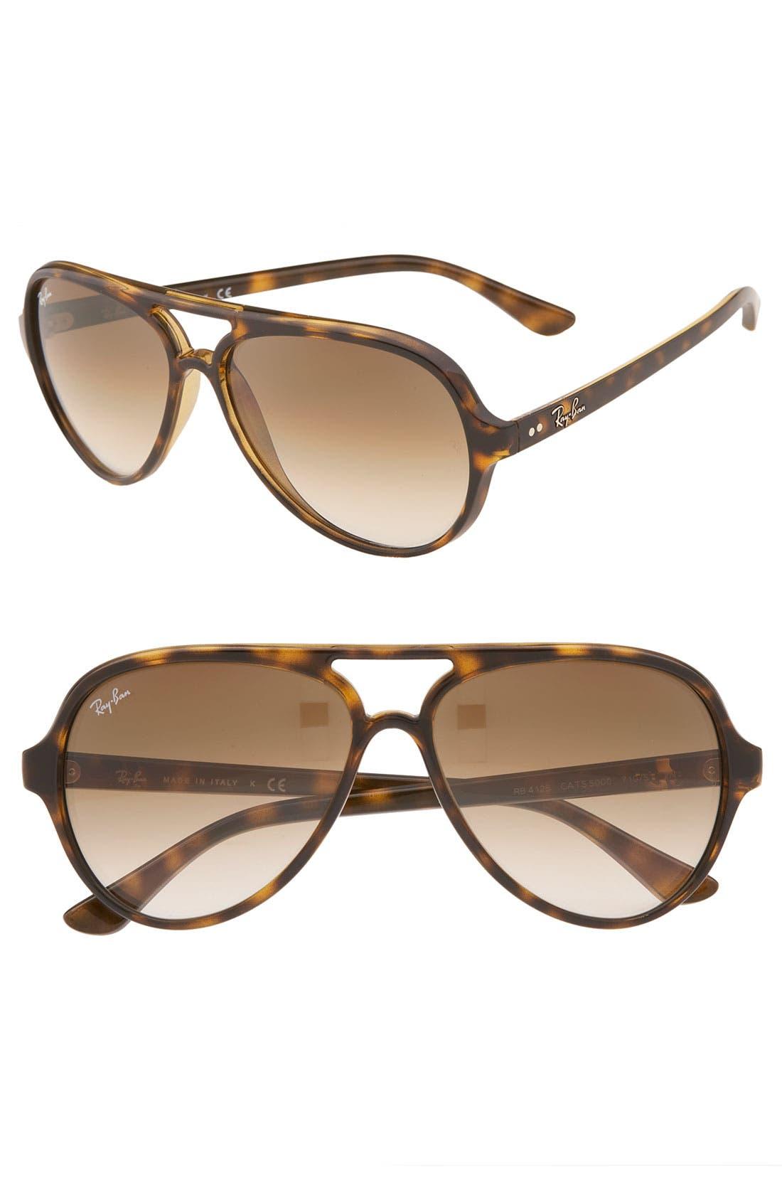 59mm Resin Aviator Sunglasses,                             Main thumbnail 1, color,                             Light Havana