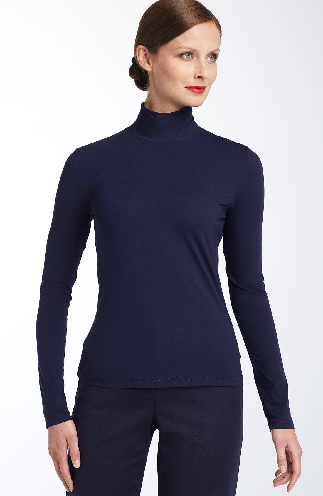 Alternate Image 2  - St. John Collection 'Nuda' Fine Jersey Turtleneck Shell