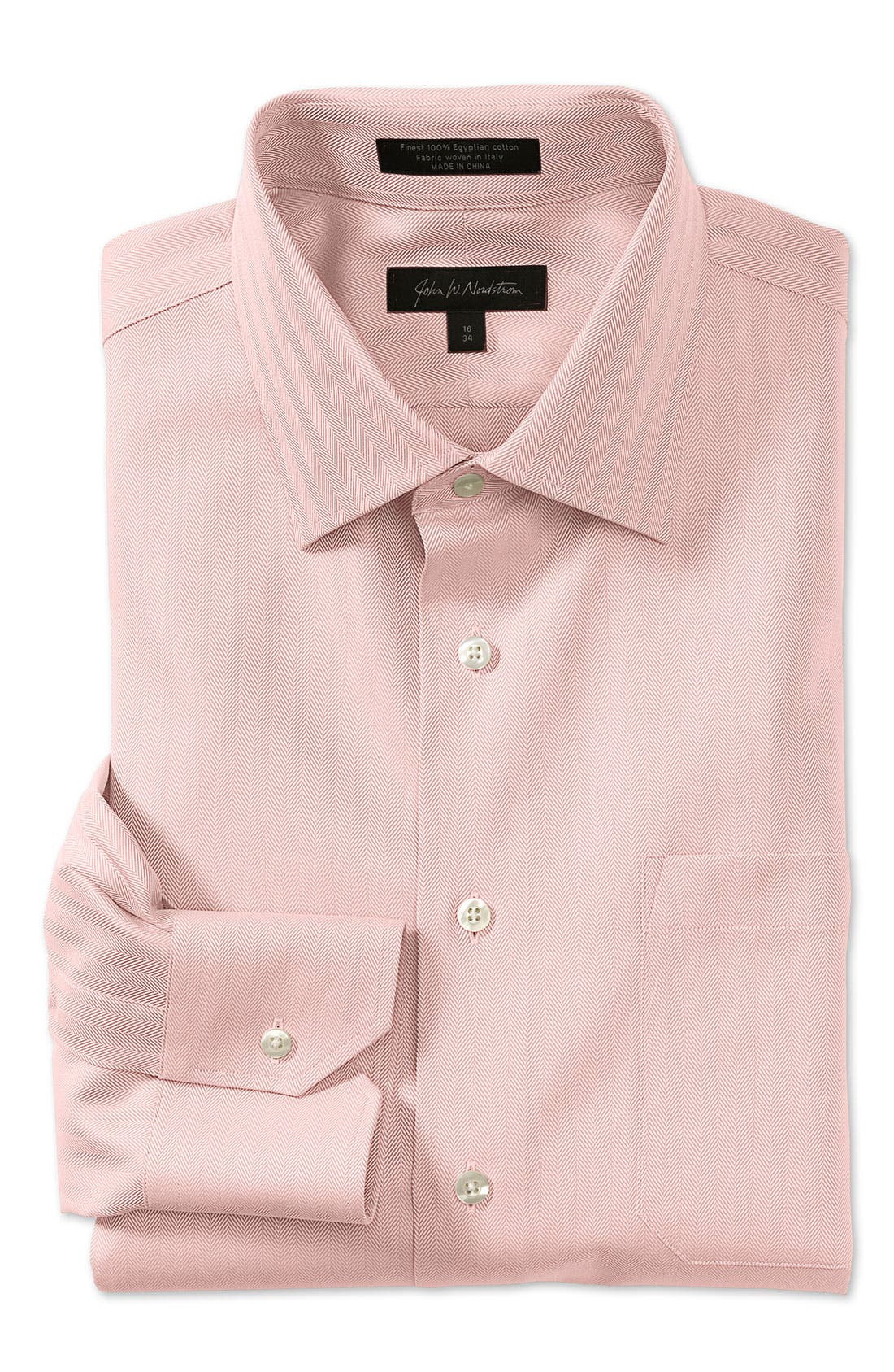 Alternate Image 1 Selected - John W. Nordstrom® Men's Solid Herringbone Cotton Traditional Fit Dress Shirt