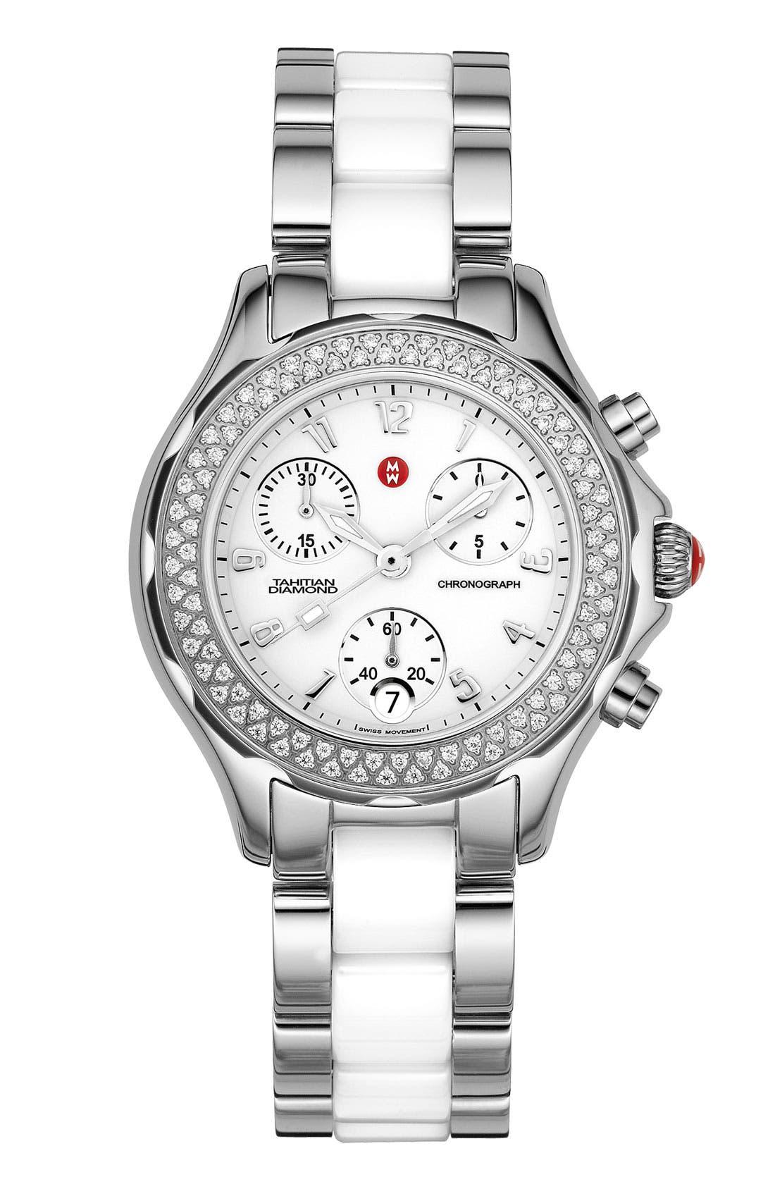 Alternate Image 1 Selected - MICHELE 'Tahitian' Stainless Steel Ceramic Diamond Watch, 35mm