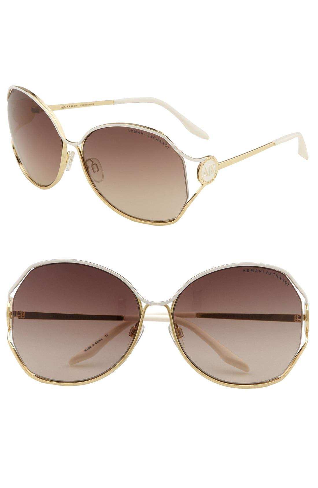 Main Image - AX Armani Exchange Oversized Metal Sunglasses