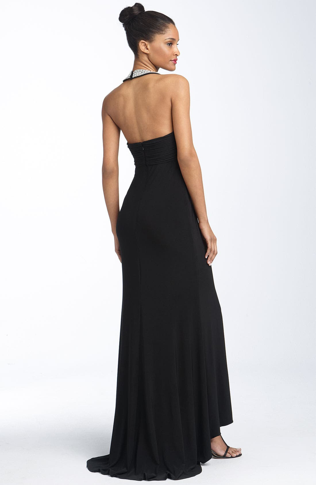 Alternate Image 2  - JS Boutique Beaded Jersey Halter Gown