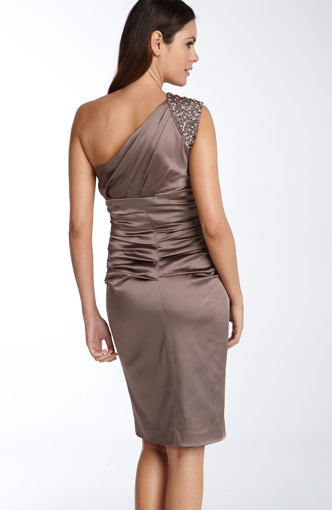 Alternate Image 2  - Suzi Chin for Maggy Boutique Beaded One Shoulder Stretch Satin Sheath Dress