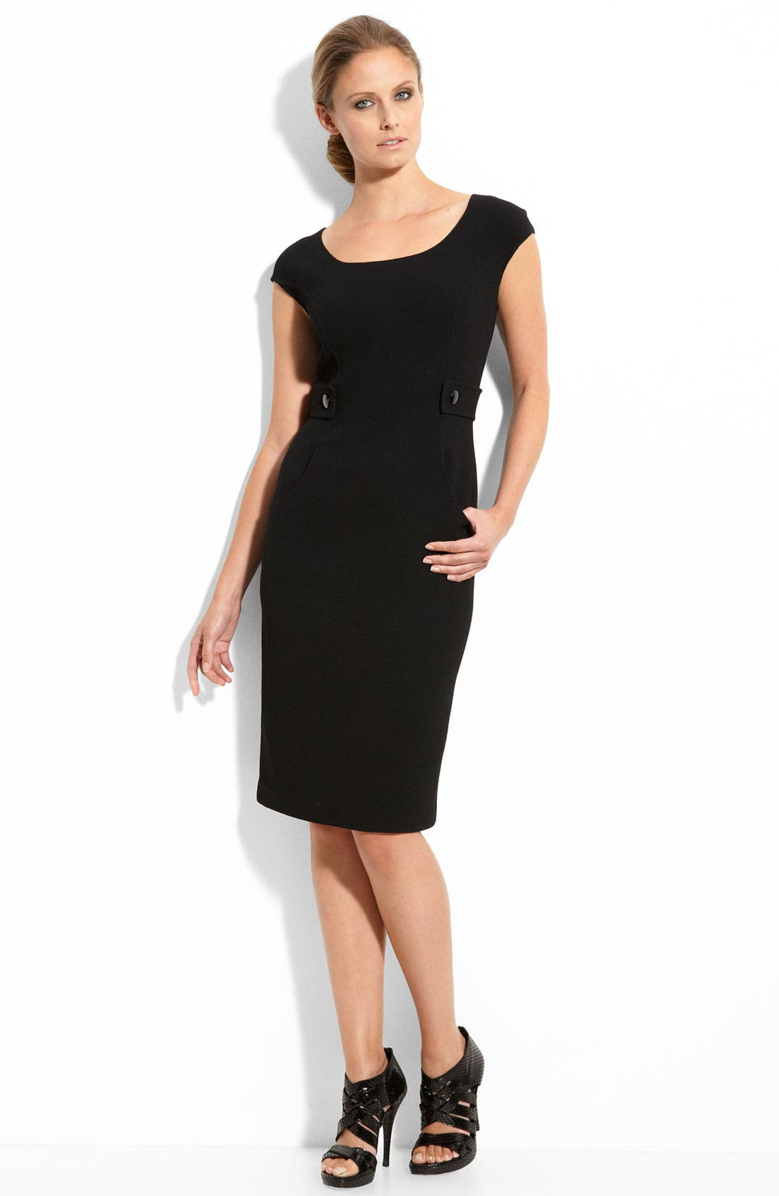 Double Face Wool Crepe Dress,                         Main,                         color, Caviar
