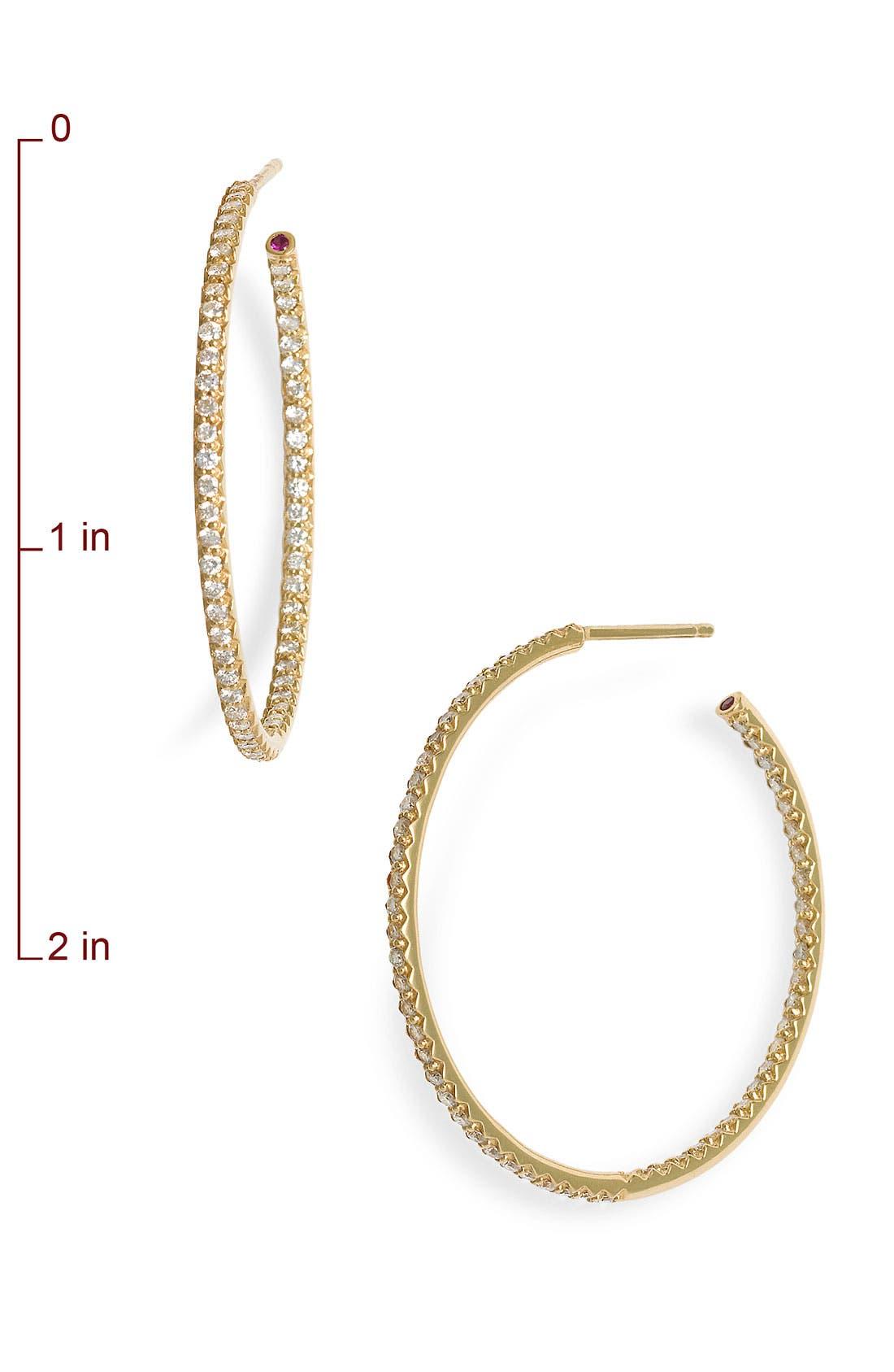 Alternate Image 2  - Roberto Coin Inside Out Diamond Hoop Earrings
