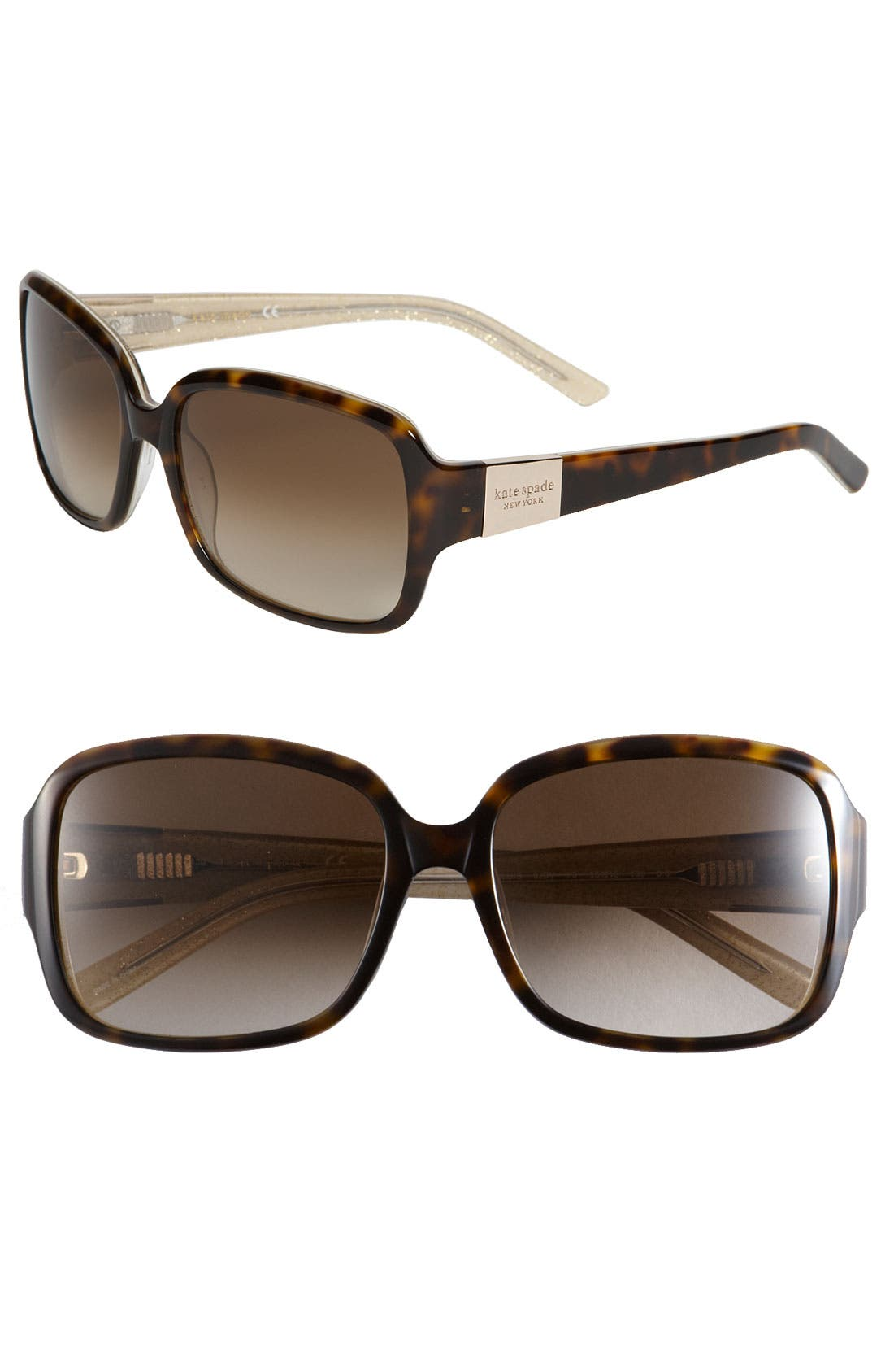 KATE SPADE 'LULU' 55MM RECTANGULAR SUNGLASSES - TORTOISE/ GOLD, TORTOISE GOLD