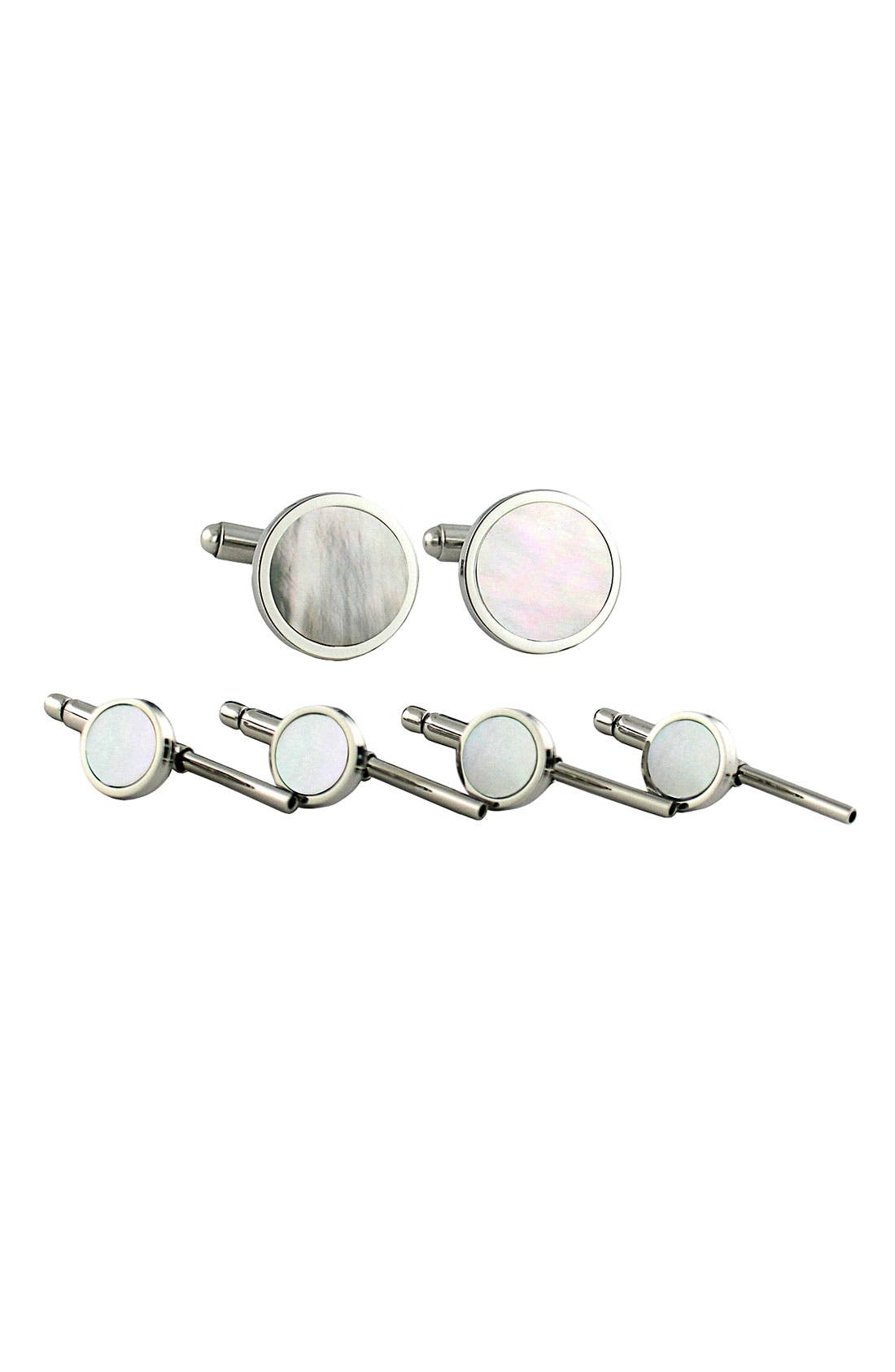 Mother-of-Pearl Cuff Link & Stud Set,                             Main thumbnail 1, color,                             Silver M.O.P Stud Set