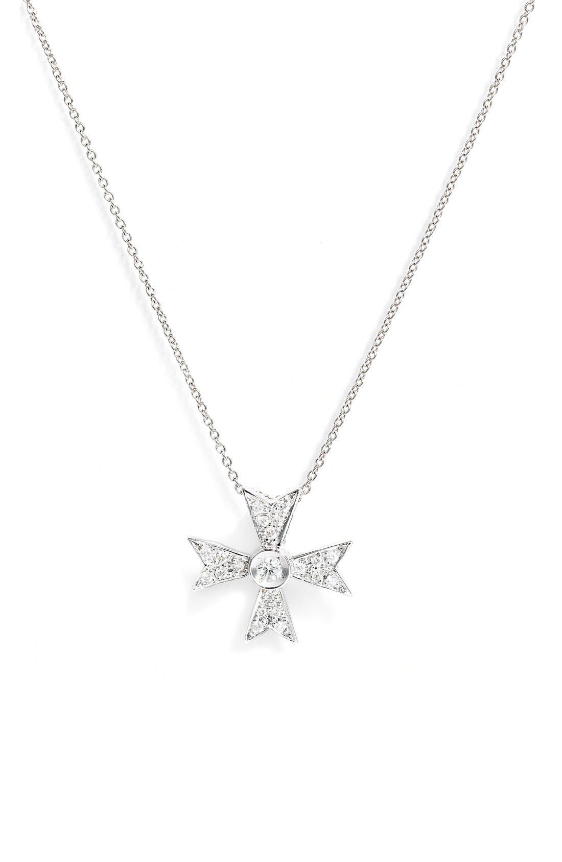 Main Image - Roberto Coin 'Tiny Treasures' Diamond Cross Necklace
