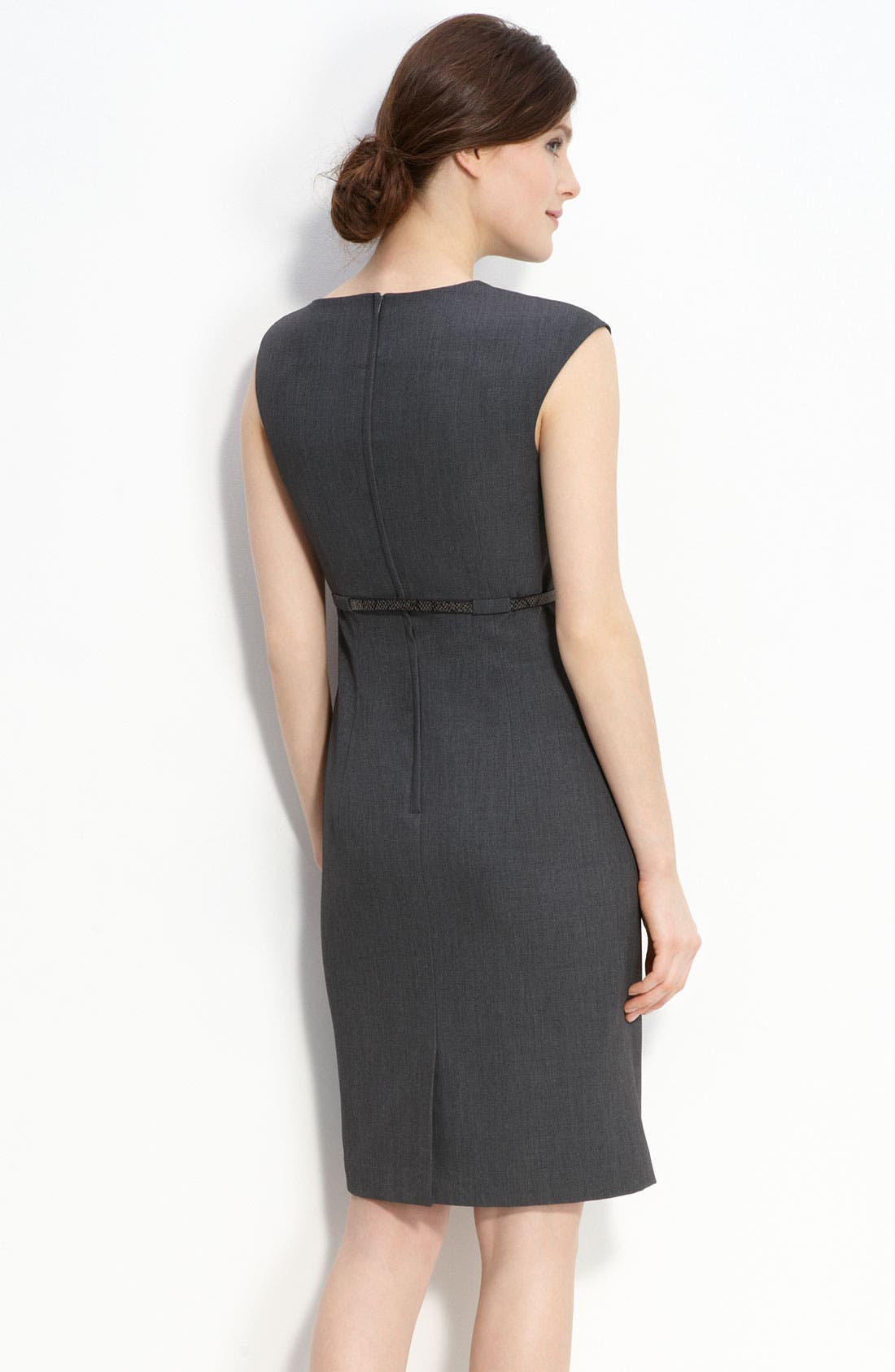 Belted Asymmetrical Sheath Dress,                             Alternate thumbnail 2, color,                             Charcoal