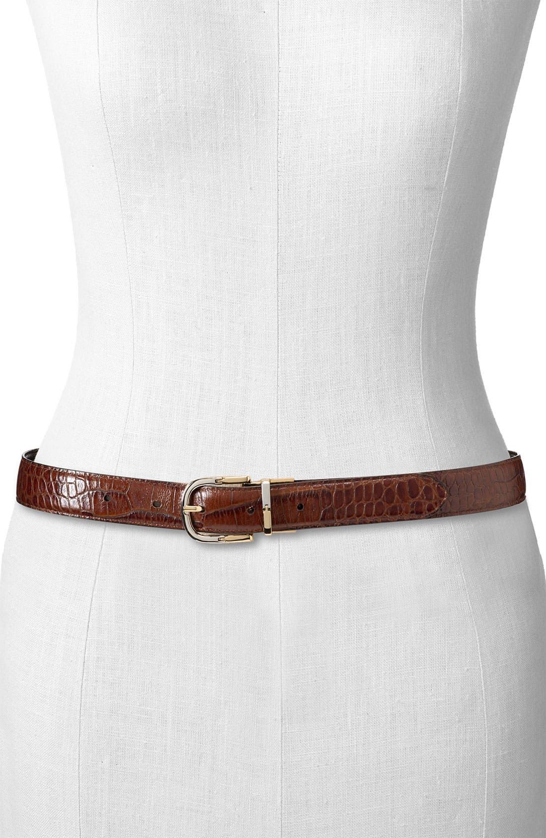 Alternate Image 2  - Lauren Ralph Lauren Reversible Croc Embossed Belt