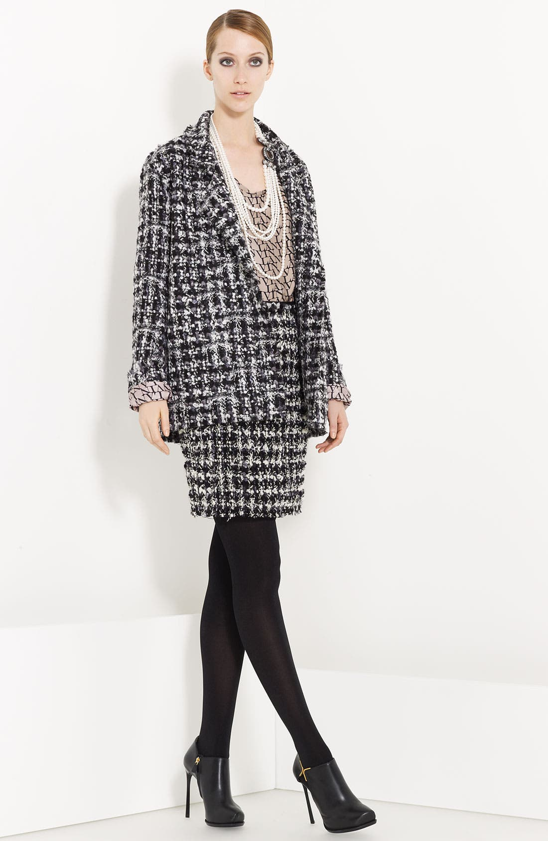 Alternate Image 1 Selected - Lanvin Silk Blouse & Bouclé Skirt with Faux Pearl Necklace