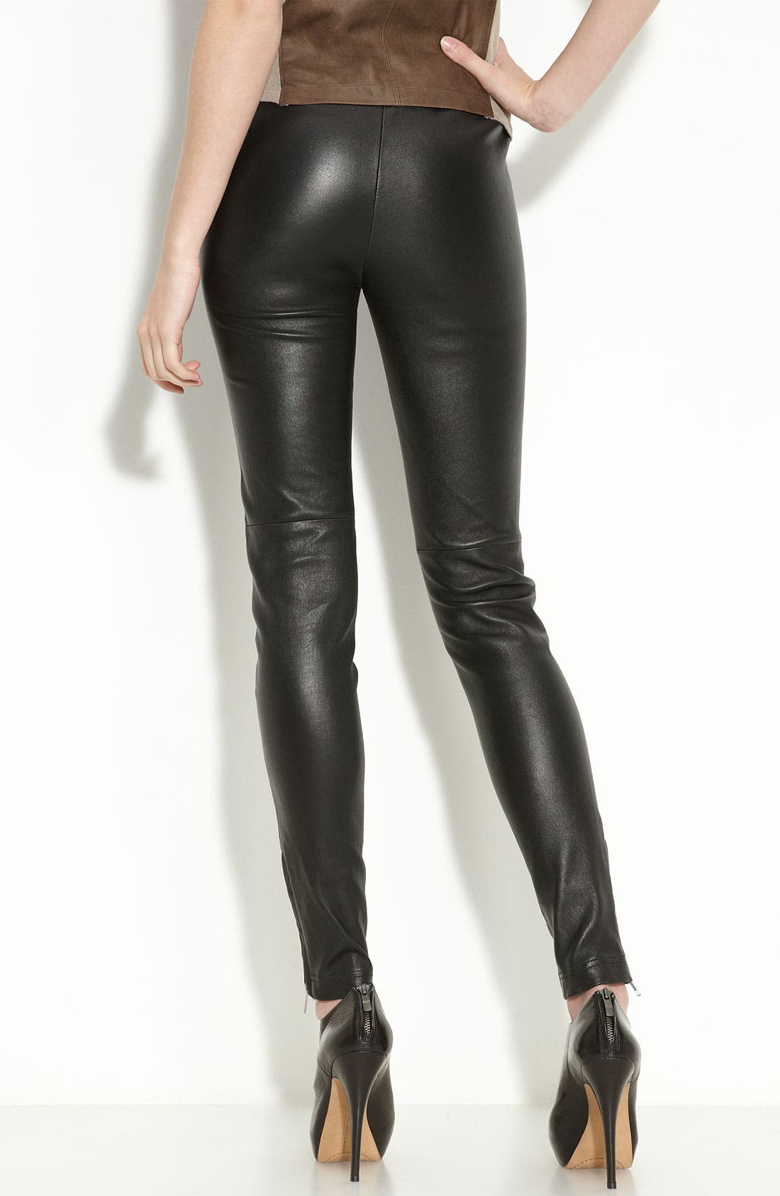 Zip Hem Leather Leggings,                             Alternate thumbnail 2, color,                             Black