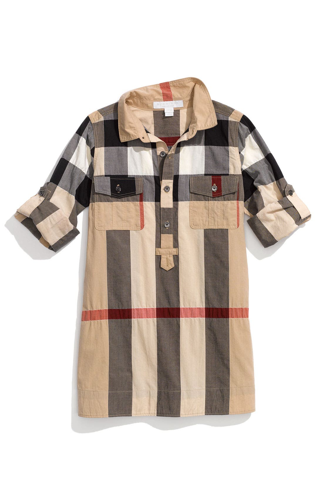 Main Image - Burberry Check Print Shirtdress (Little Girls)